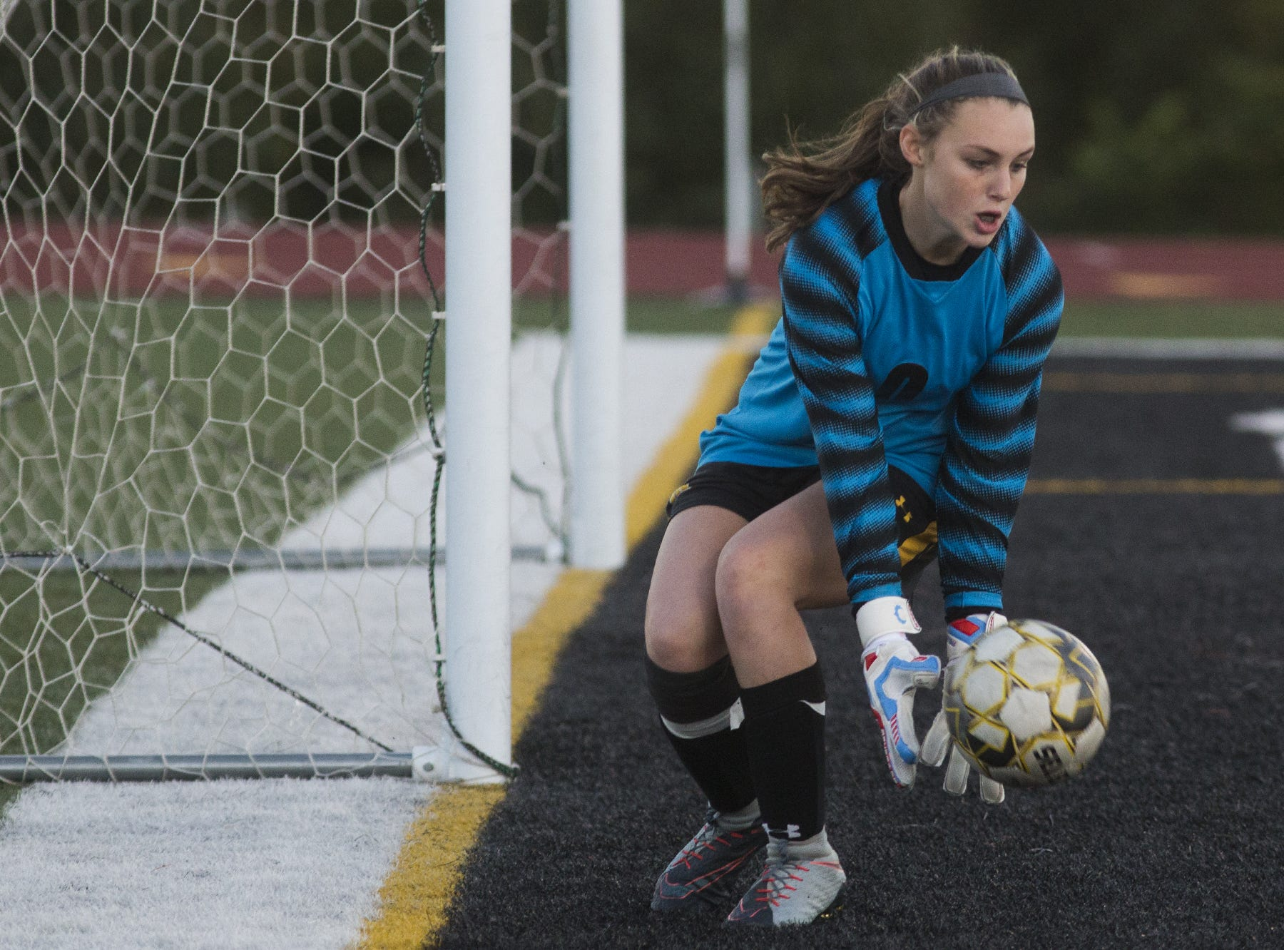 Red Lion goalkeeper Kylyn McIntire makes a save. Central York defeats Red Lion 1-0 in the YAIAA girls' soccer championship game at Northeastern High School in Manchester, Saturday, October 20, 2018.