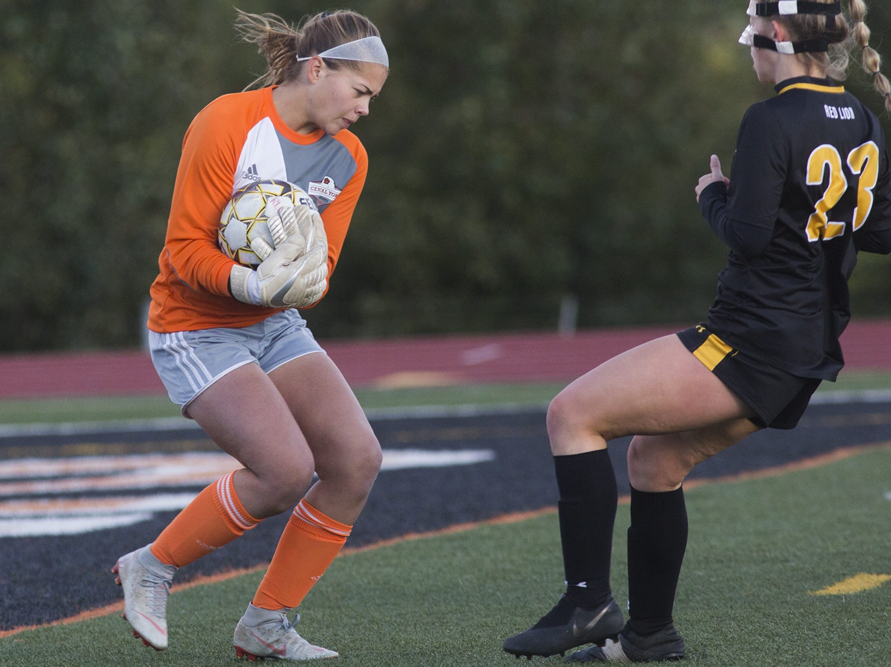 Central York goalkeeper Morgan Wood makes a save. Central York defeats Red Lion 1-0 in the YAIAA girls' soccer championship game at Northeastern High School in Manchester, Saturday, October 20, 2018.
