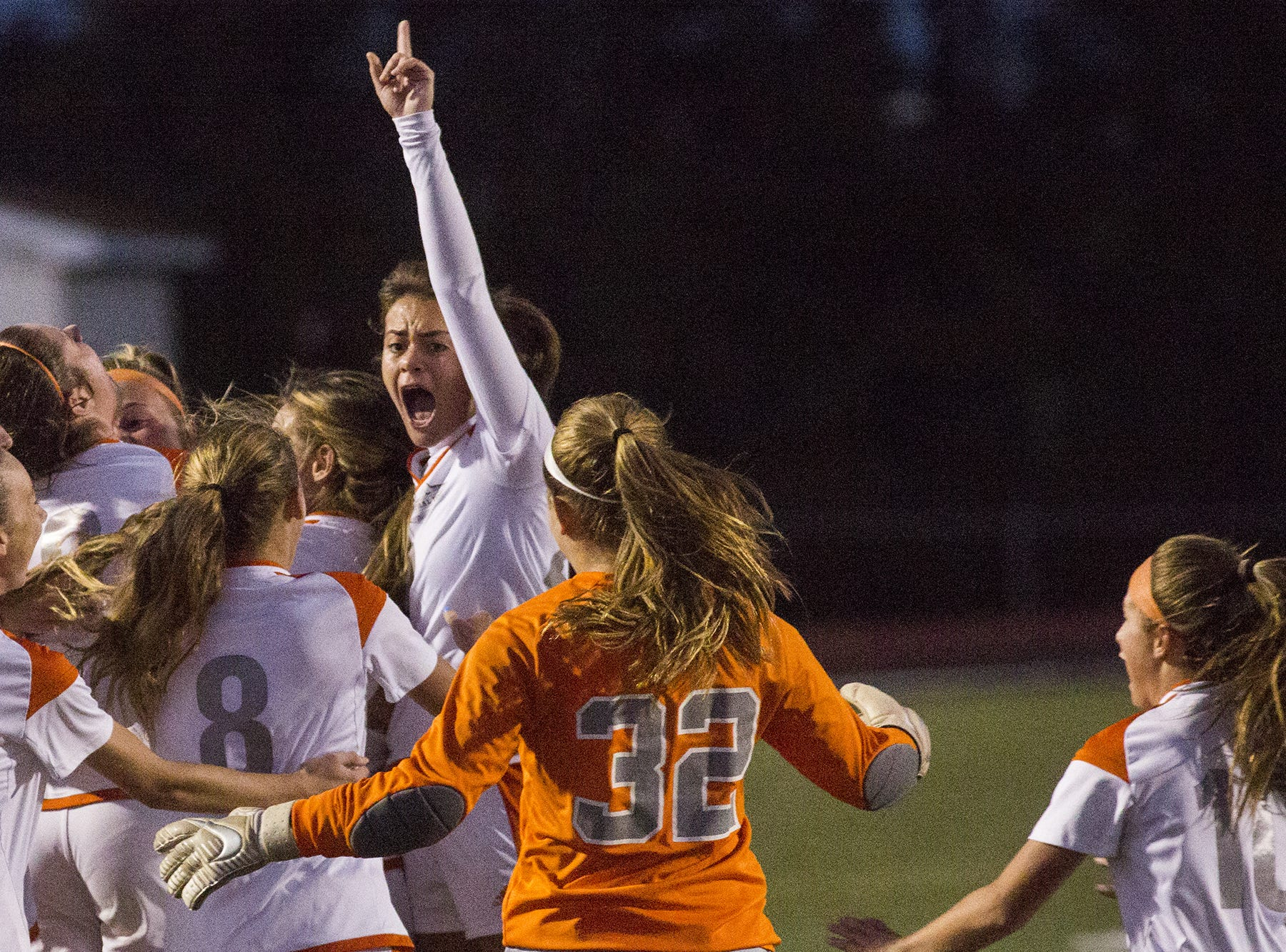 Central York celebrates their victory as the game ends. Central York defeats Red Lion 1-0 in the YAIAA girls' soccer championship game at Northeastern High School in Manchester, Saturday, October 20, 2018.
