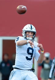 Penn State quarterback Trace McSorley (9) makes a pass during the second half of an NCAA college football game Saturday, Oct. 20, 2018, in Bloomington, Ind. Penn State won 33-28.