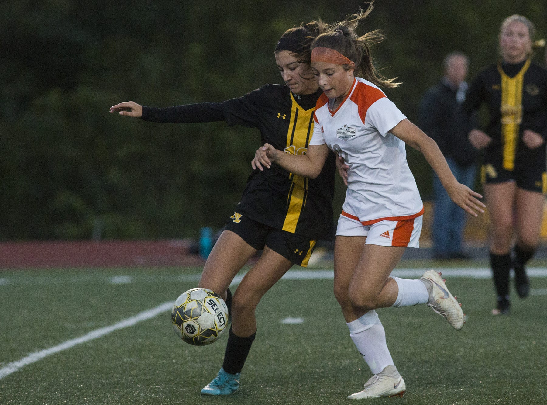 Red Lion's Brooke Wentz, left, and Central York's Ava Myers compete for the ball. Central York defeats Red Lion 1-0 in the YAIAA girls' soccer championship game at Northeastern High School in Manchester, Saturday, October 20, 2018.