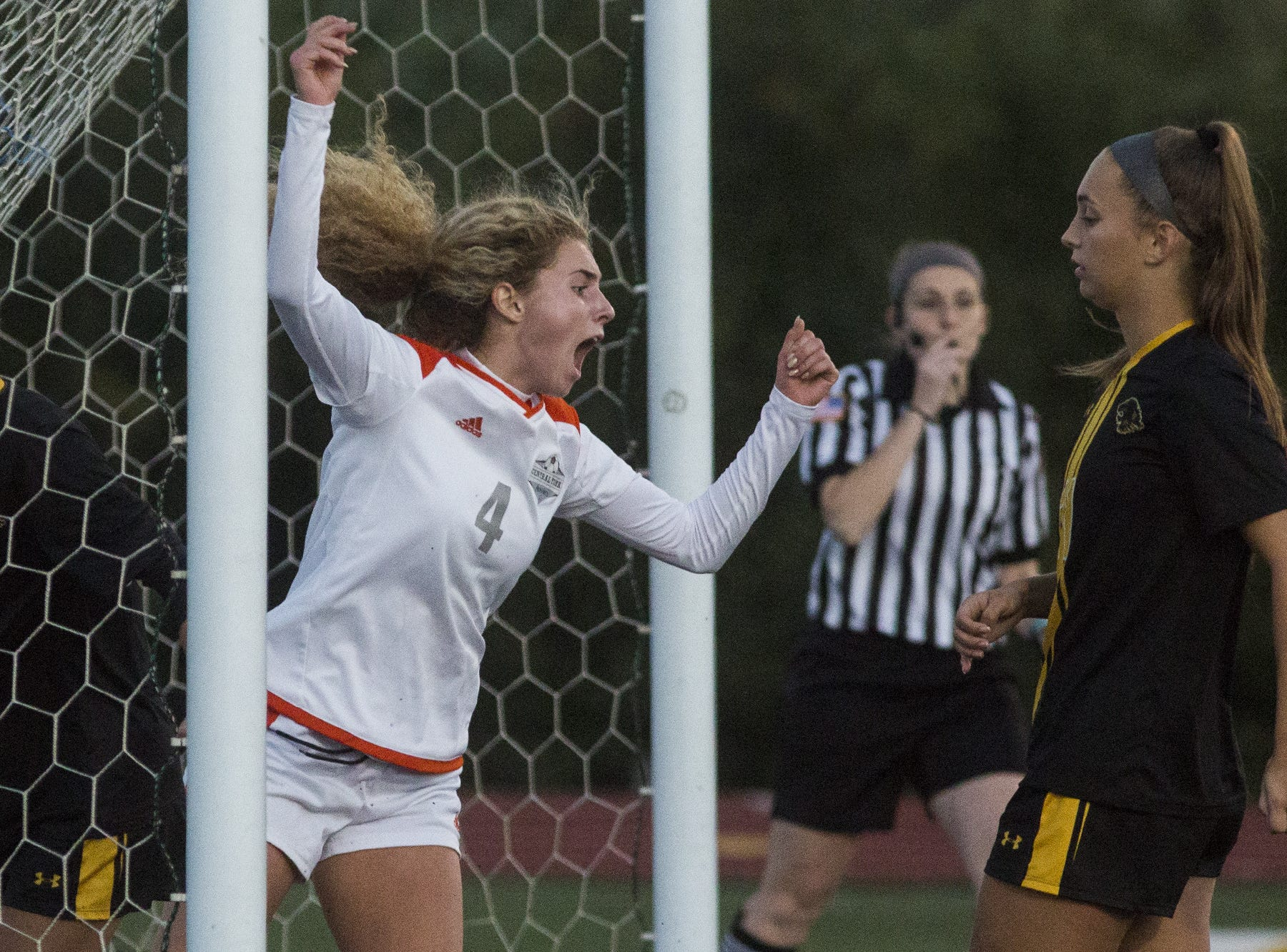 Central York's Anya Schnetzka celebrates after her teammate, Katelyn Mair, not pictured, scores a goal. Central York defeats Red Lion 1-0 in the YAIAA girls' soccer championship game at Northeastern High School in Manchester, Saturday, October 20, 2018.