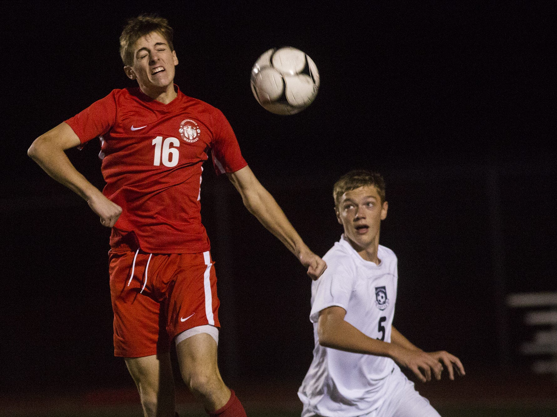 Susquehannock's Mason Kaifer, left, and West York's Jason Bruder compete for the ball. Susquehannock plays West York in the YAIAA boys' soccer championship game at Northeastern High School in Manchester, Saturday, October 20, 2018.