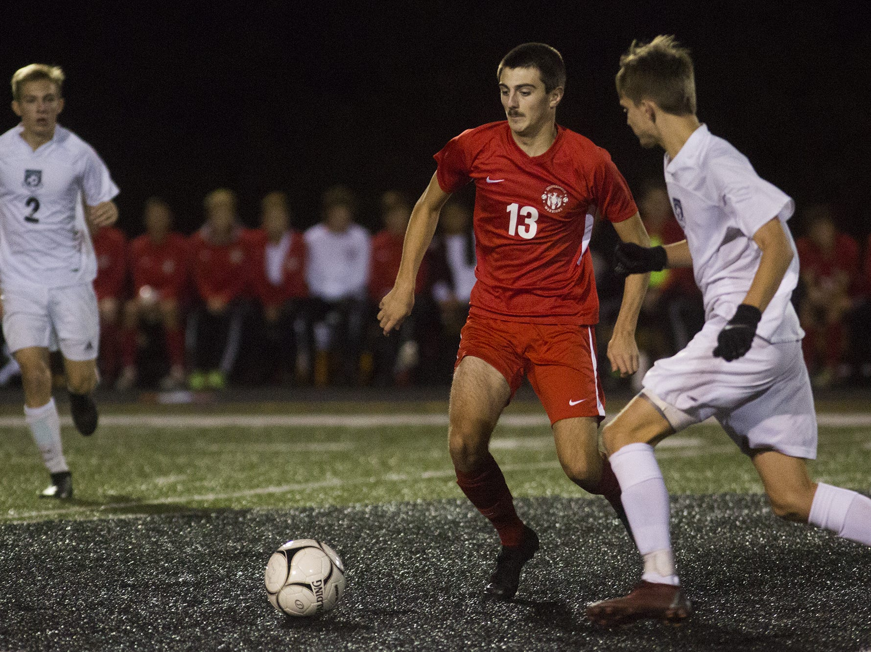 Susquehannock's Nolan Holloway, left, and West York's Adam Hersey compete for the ball. Susquehannock plays West York in the YAIAA boys' soccer championship game at Northeastern High School in Manchester, Saturday, October 20, 2018.