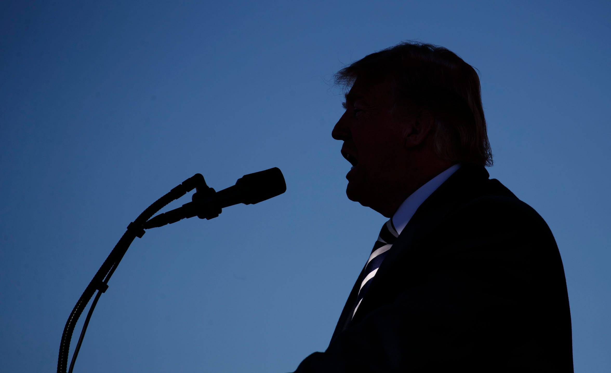 President Donald Trump speaks at Elko Regional Airport, Saturday, Oct. 20, 2018, in Elko, Nev., during a campaign rally. (AP Photo/Carolyn Kaster)