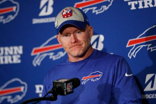 Buffalo Bills head coach Sean McDermott speaks during a press conference following Sunday's 35-7 loss to the Indianapolis Colts.