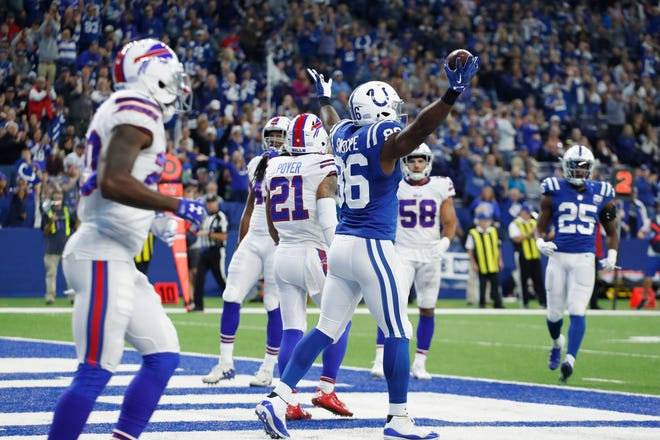 Oct 21, 2018; Indianapolis, IN, USA; Indianapolis Colts tight end Erik Swoope (86) reacts after scoring a touchdown against the Buffalo Bills during the second quarter at Lucas Oil Stadium. Mandatory Credit: Brian Spurlock-USA TODAY Sports