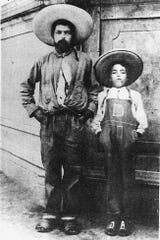 Aquilino Zarazúa, father to Blanca Zarazúa and an immigrant to the U.S., stands with his father. Zarazúa, from Guanajuato, Mexico, first worked in the U.S. as a bracero, a guest worker.