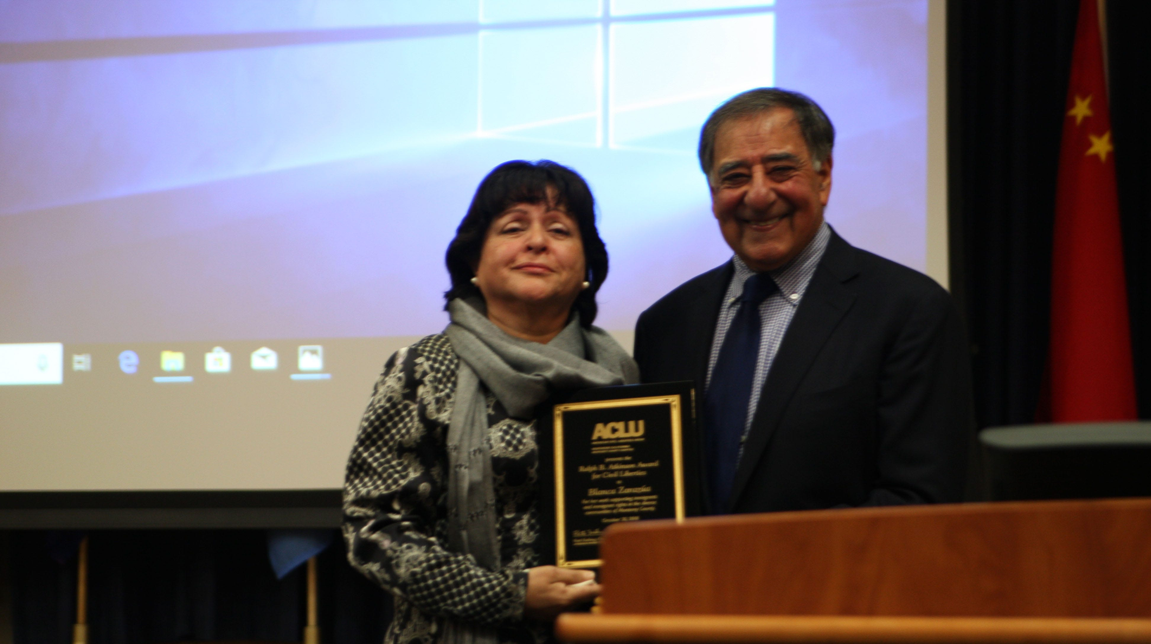 Blanca Zarazúa accepts the 2018 ACLU's Ralph B. Atkinson Civil Liberties Award from Hon. Leon J. Panetta, the 1983 award winner.