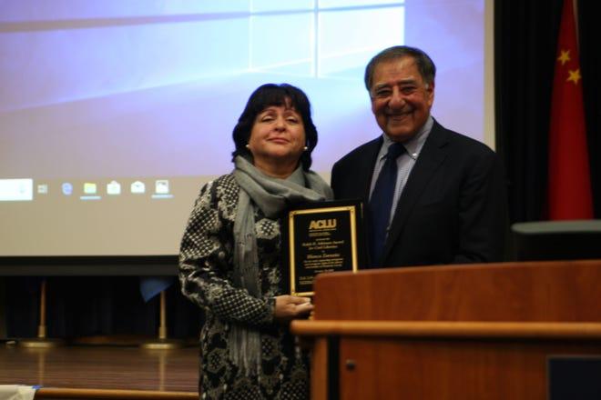 Blanca Zarazúa accepts the 2018 ACLU's Ralph B. Atkinson Civil Liberties Award from Hon. Leon J. Panetta, the 1983 award winner.