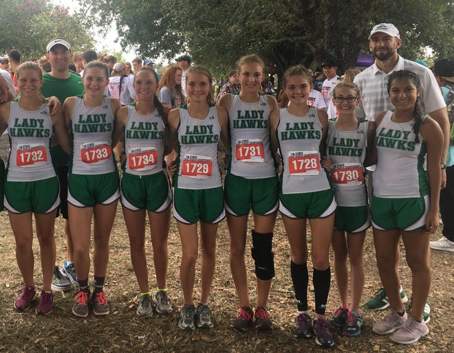 The Wall girls cross country team finished fourth at the 2017 UIL State Cross Country Championships Nov. 4 in Round Rock. The members of the team were (from left to right): Emily Moeller, Bethany Pugh, Shaylee Shiller, Reagan Beeles, Cameryn Jones, Maci Beeles and Elise Countess. Pugh, Shiller, Beeles, Beeles and Countess are returning regional and state qualifiers for the Lady Hawks.
