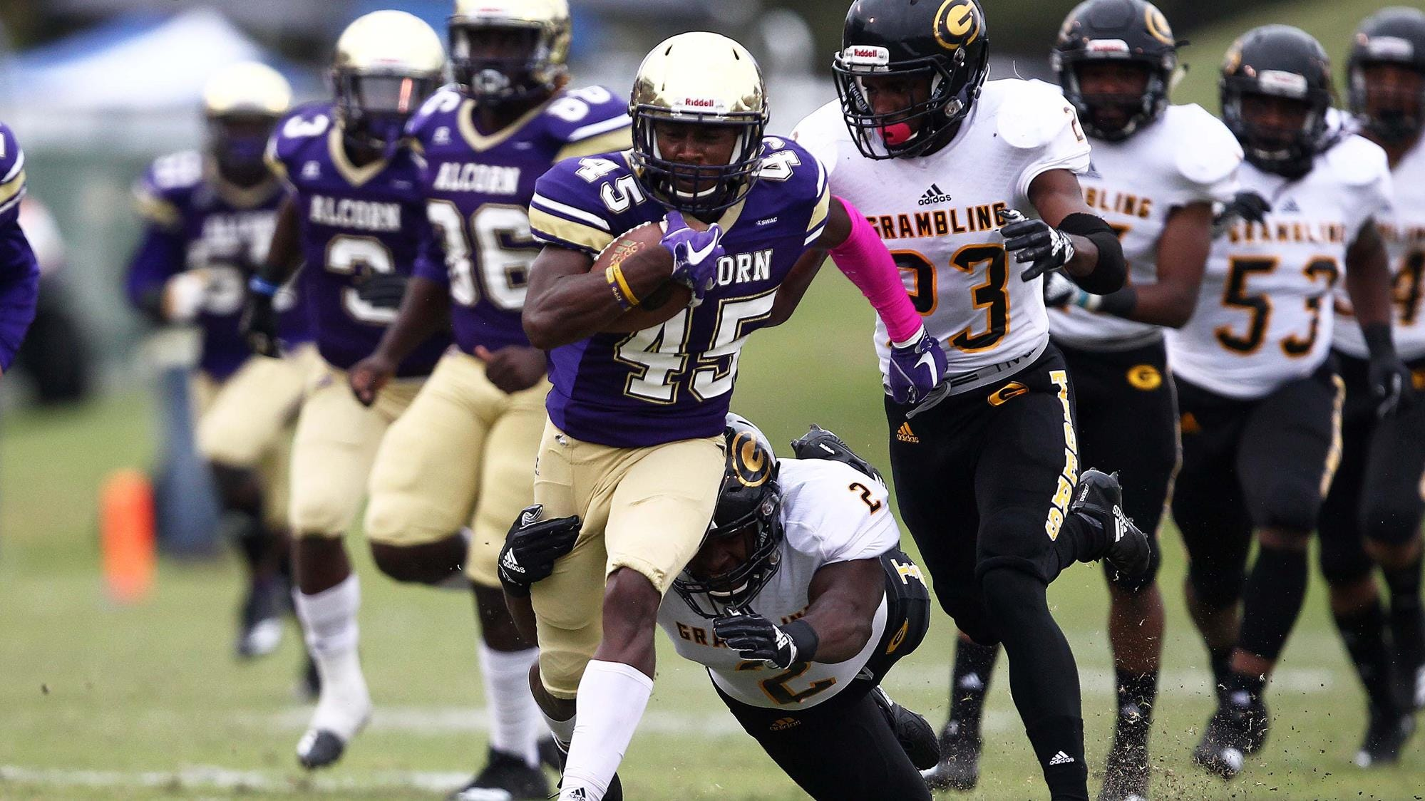 Alcorn State's Javen Morrison returns a kickoff 60 yards against Grambling State on Saturday.