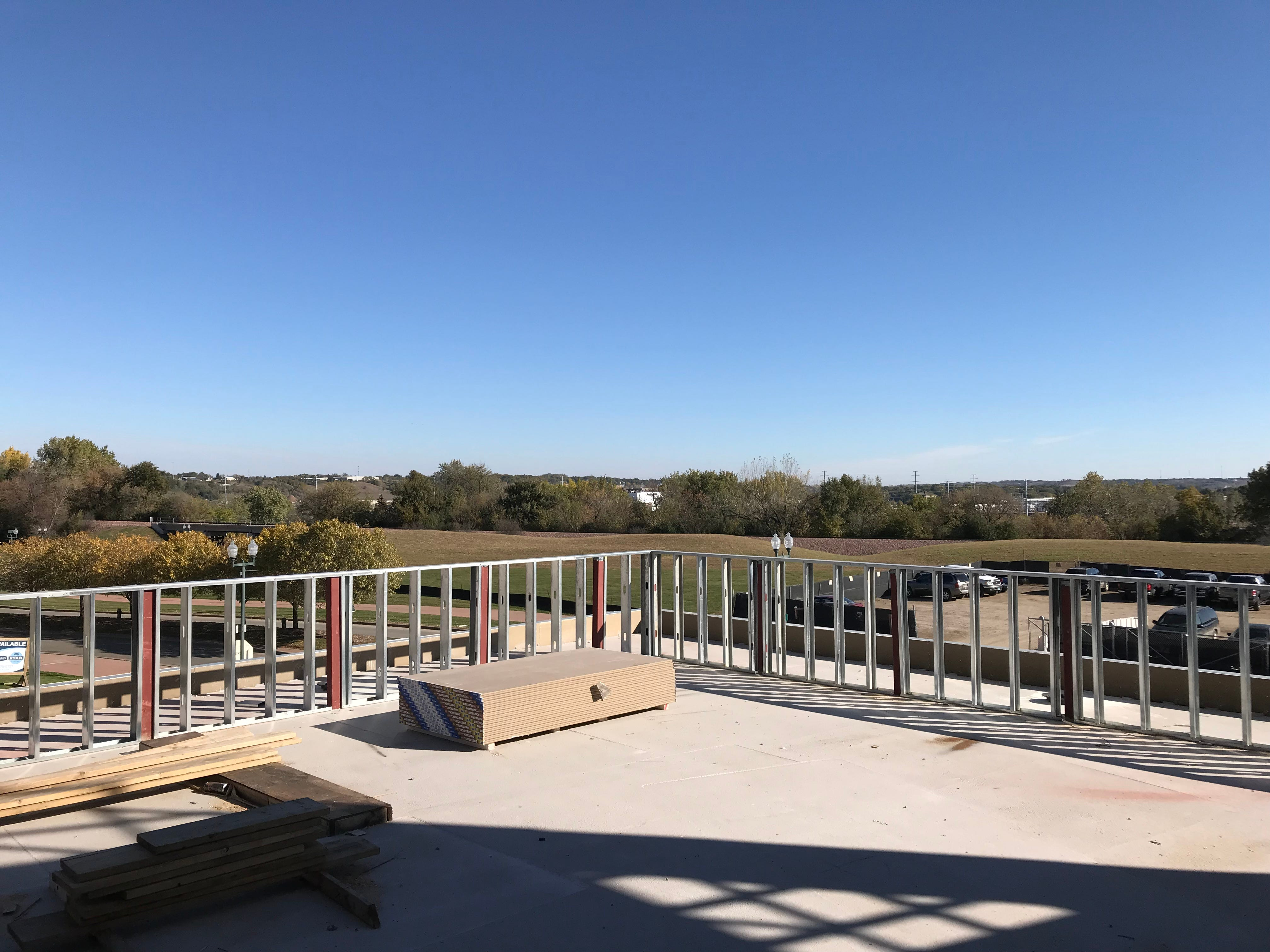 A view from the residents' deck at The Cascade at the Falls building in uptown Sioux Falls.