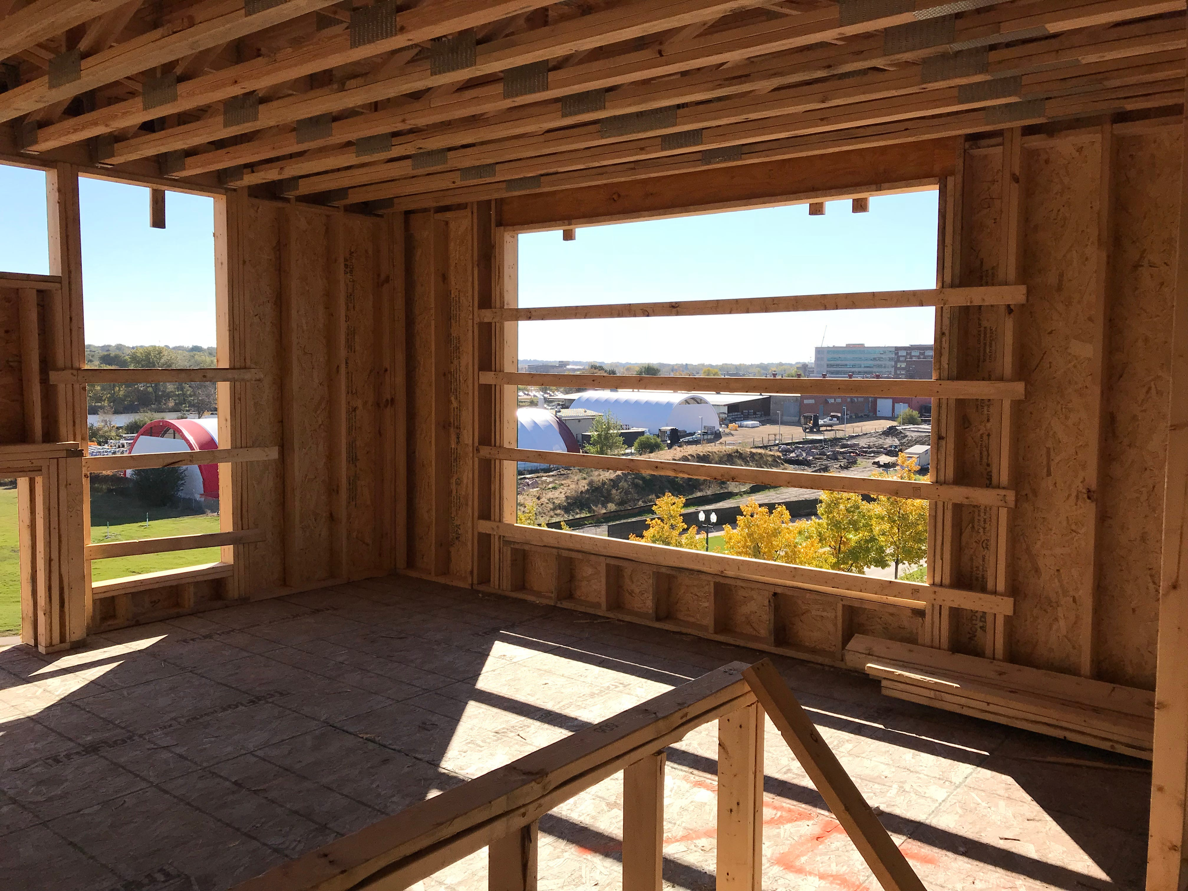 Inside an under-construction southeast corner apartment in The Cascade at the Falls building in uptown Sioux Falls.