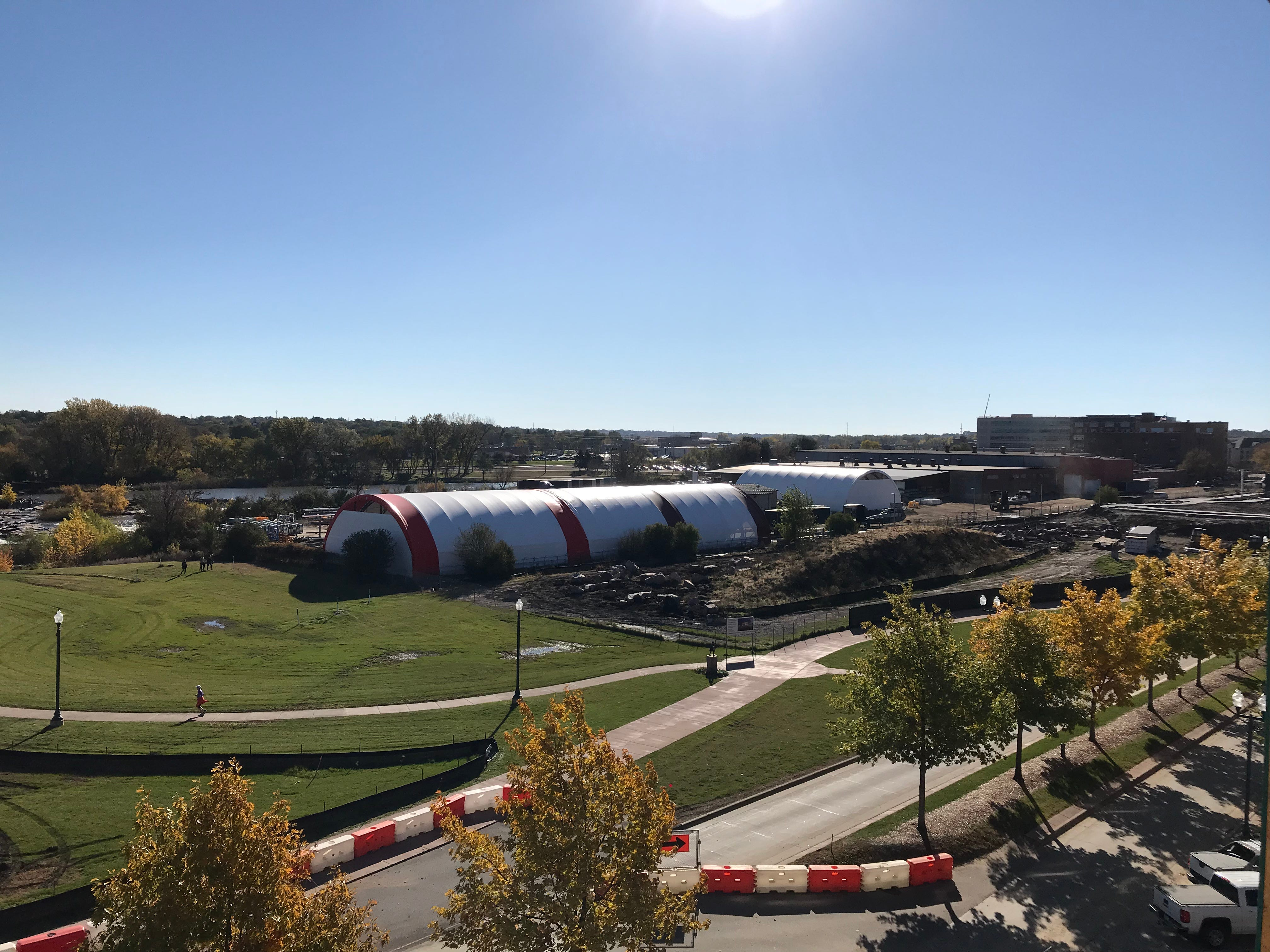 A view from a fourth-floor apartment at The Cascade at the Falls building in uptown Sioux Falls, looking toward the future site of the Levitt Shell.