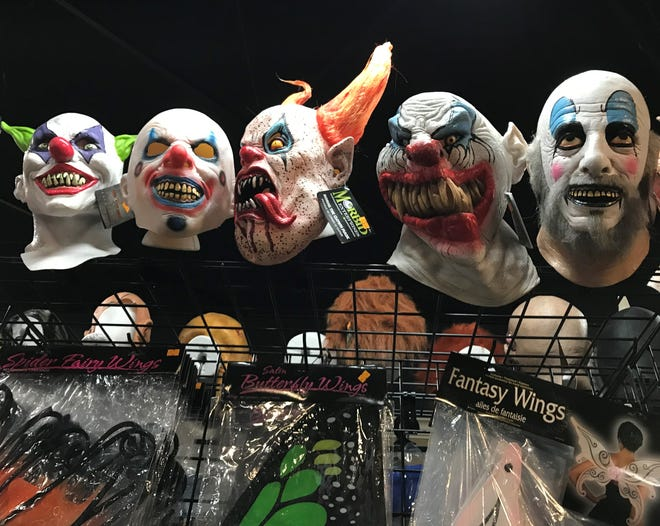 A display of high-end masks at the Halloween Express pop-up store in Sioux Falls.