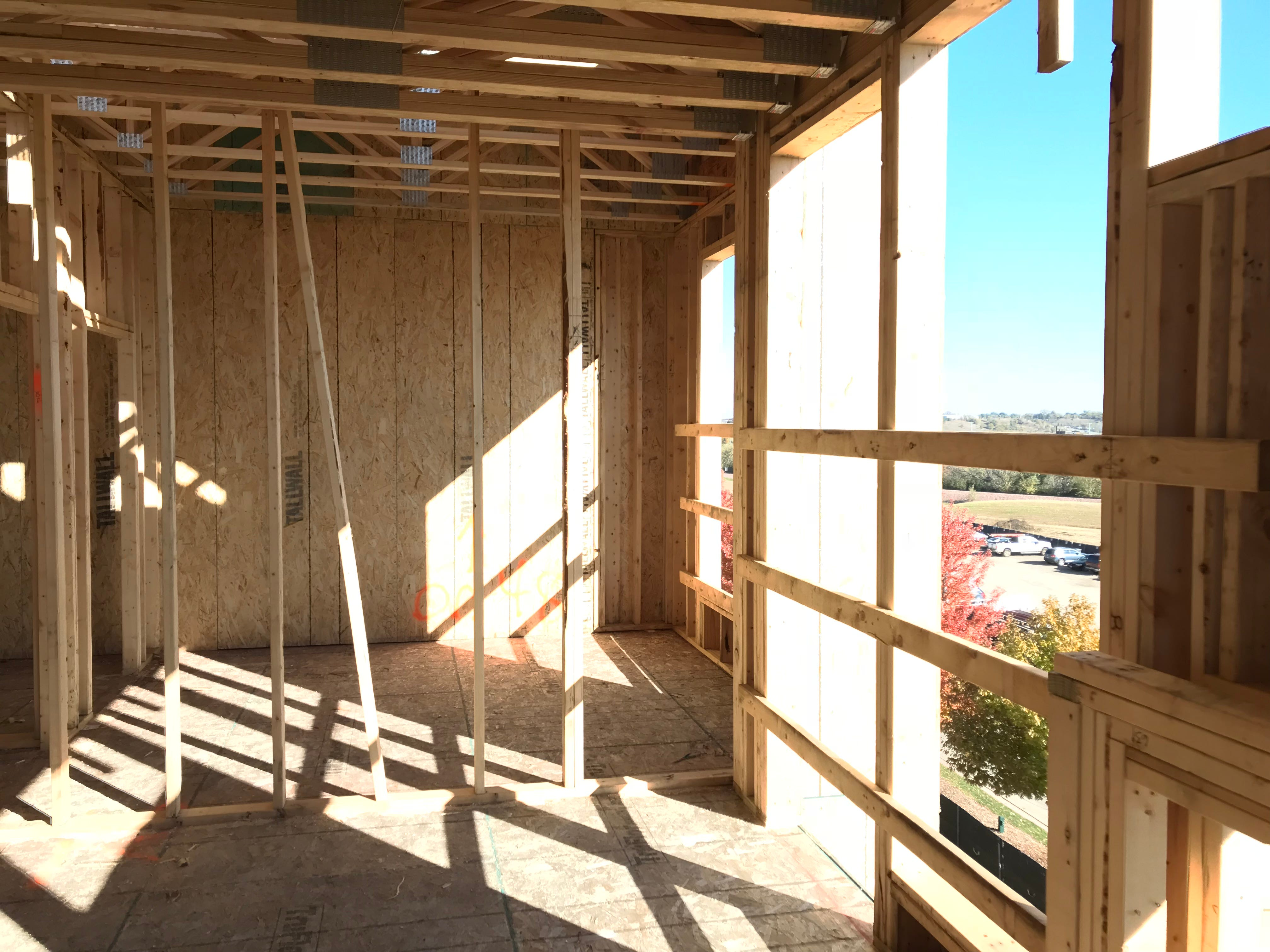 Inside an under-construction apartment in The Cascade at the Falls building in uptown Sioux Falls.