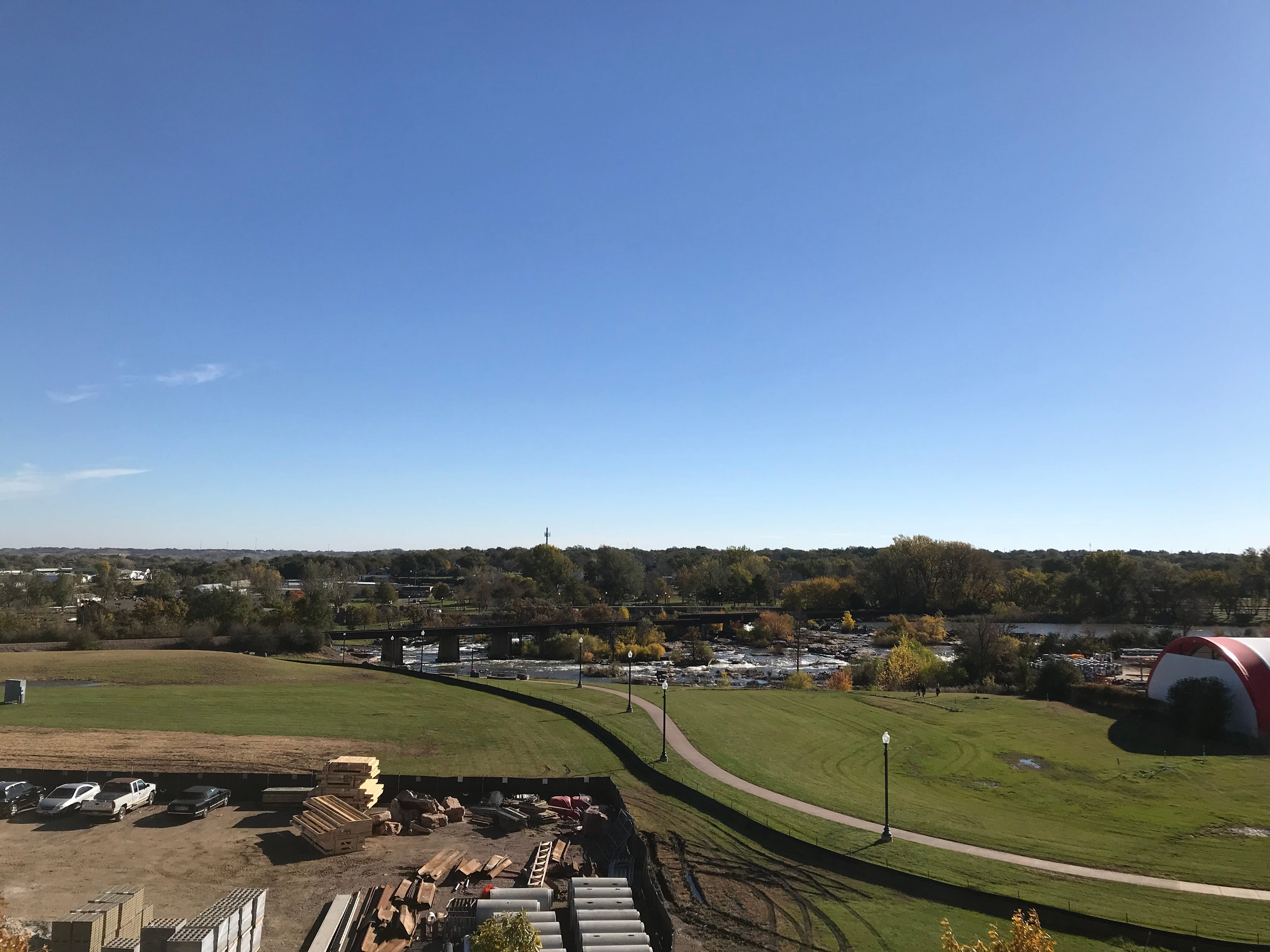 A view from a fourth-floor apartment at The Cascade at the Falls building in uptown Sioux Falls.