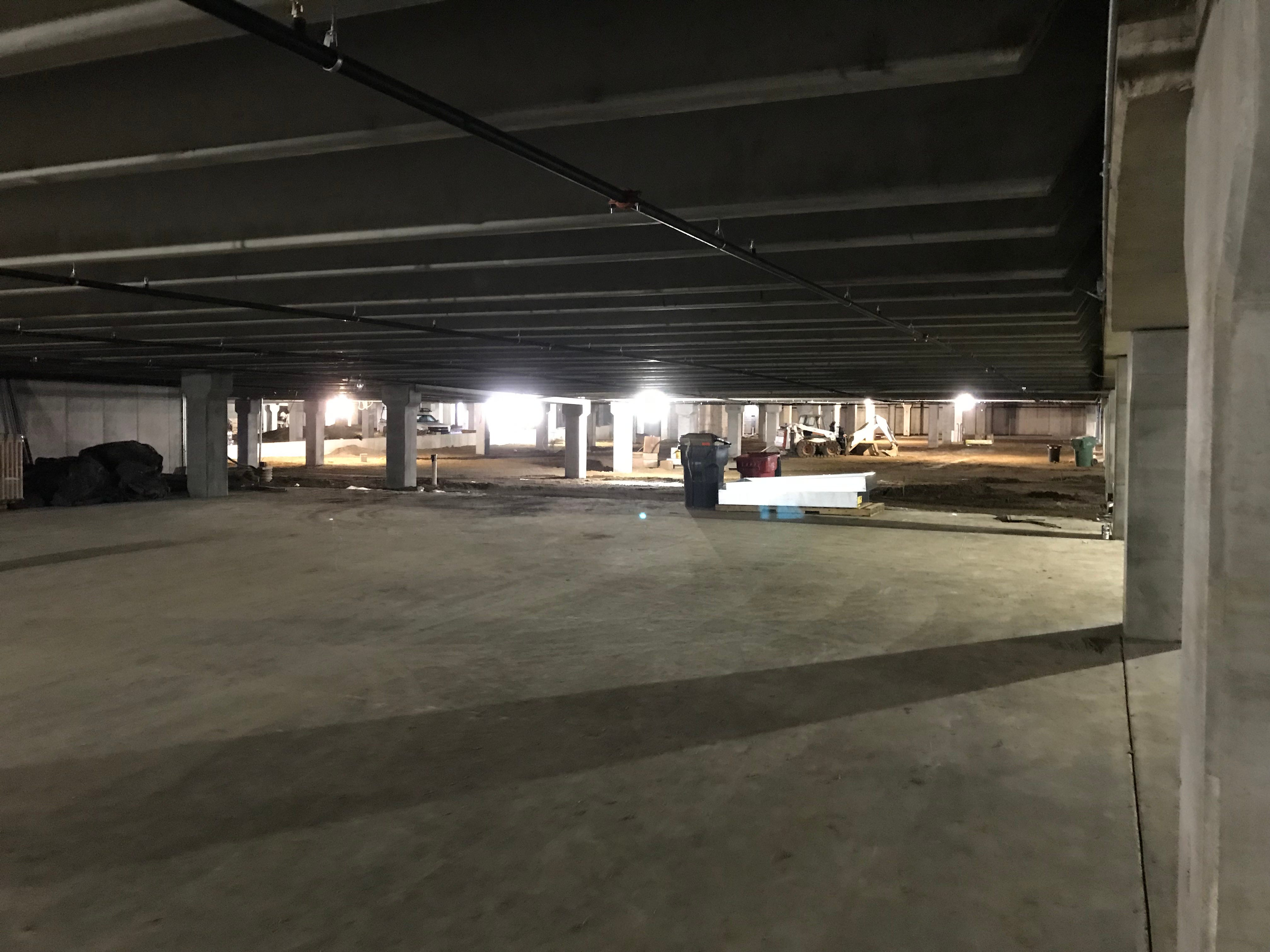 The expansive underground parking garage at The Cascade at the Falls building in uptown Sioux Falls.
