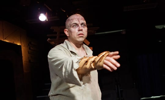 """Frankenstein"" at Springfield Contemporary Theatre. Heath Hillhouse plays Frankenstein's bewildered Creature."