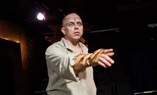 """""""Frankenstein"""" at Springfield Contemporary Theatre. Heath Hillhouse plays Frankenstein's bewildered Creature."""