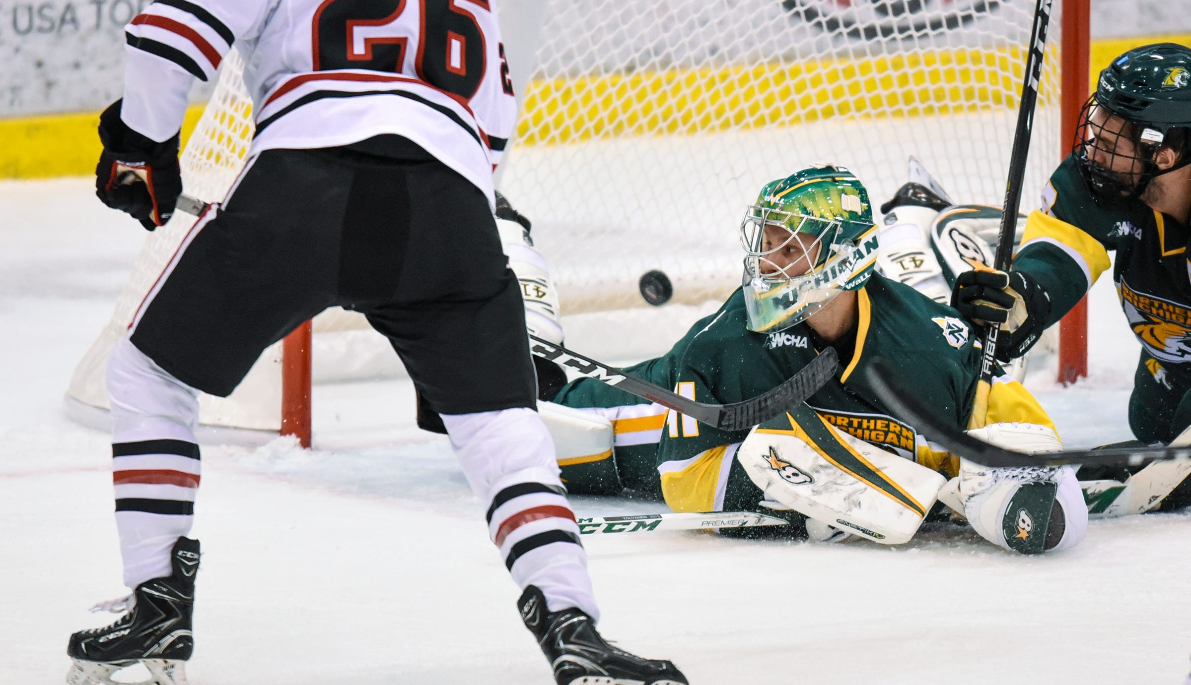 A shot by St. Cloud State's Easton Brodzinski gets past Northern Michigan goaltender Atte Tolvanen for a goal during the second period of the Saturday, Oct. 20, game at the Herb Brooks National Hockey Center in St. Cloud.