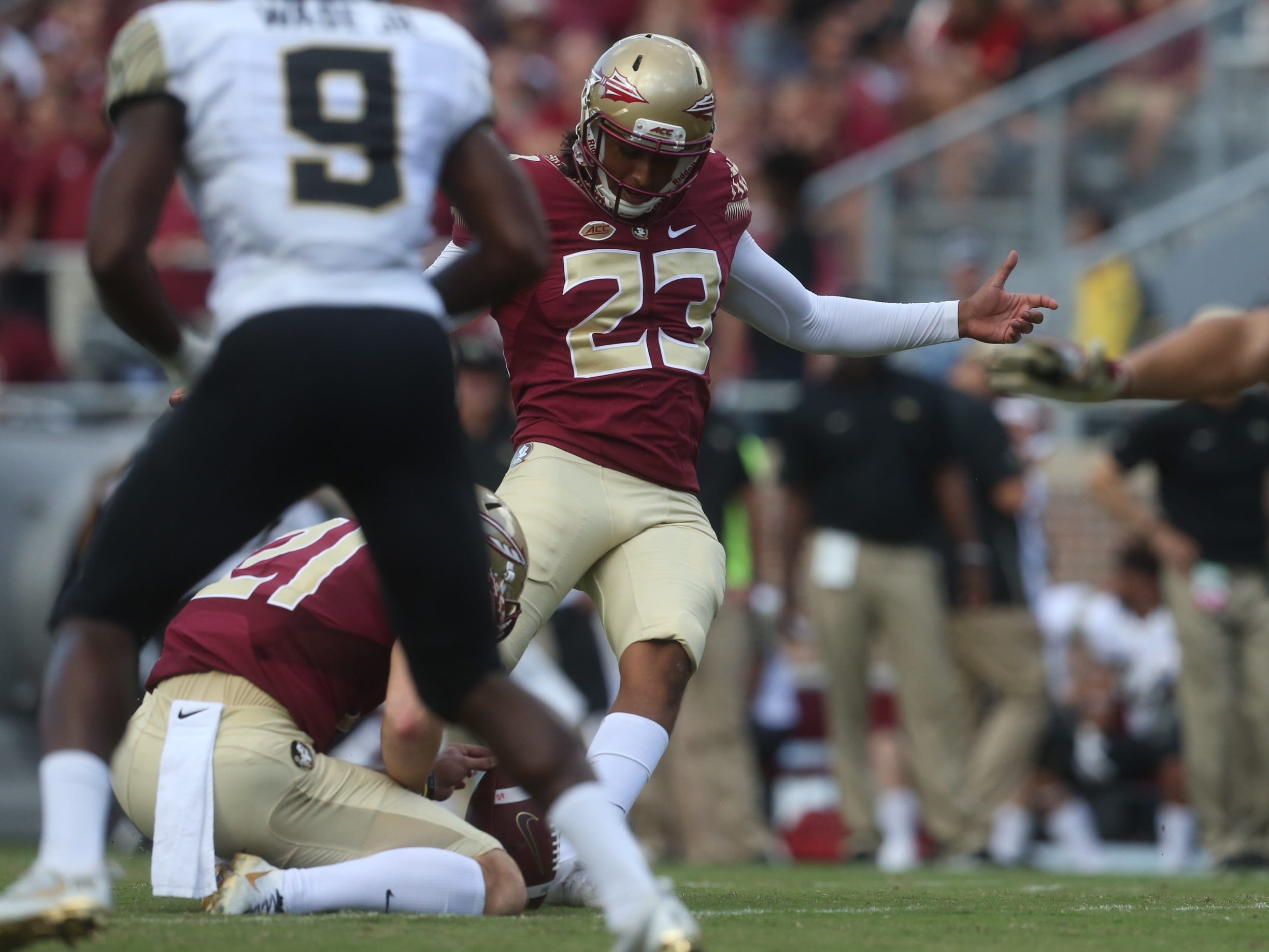 Florida State kicker Ricky Aguayo kicks an extra point during a game against Wake Forest at Doak Campbell Stadium on Saturday, Oct. 20, 2018.