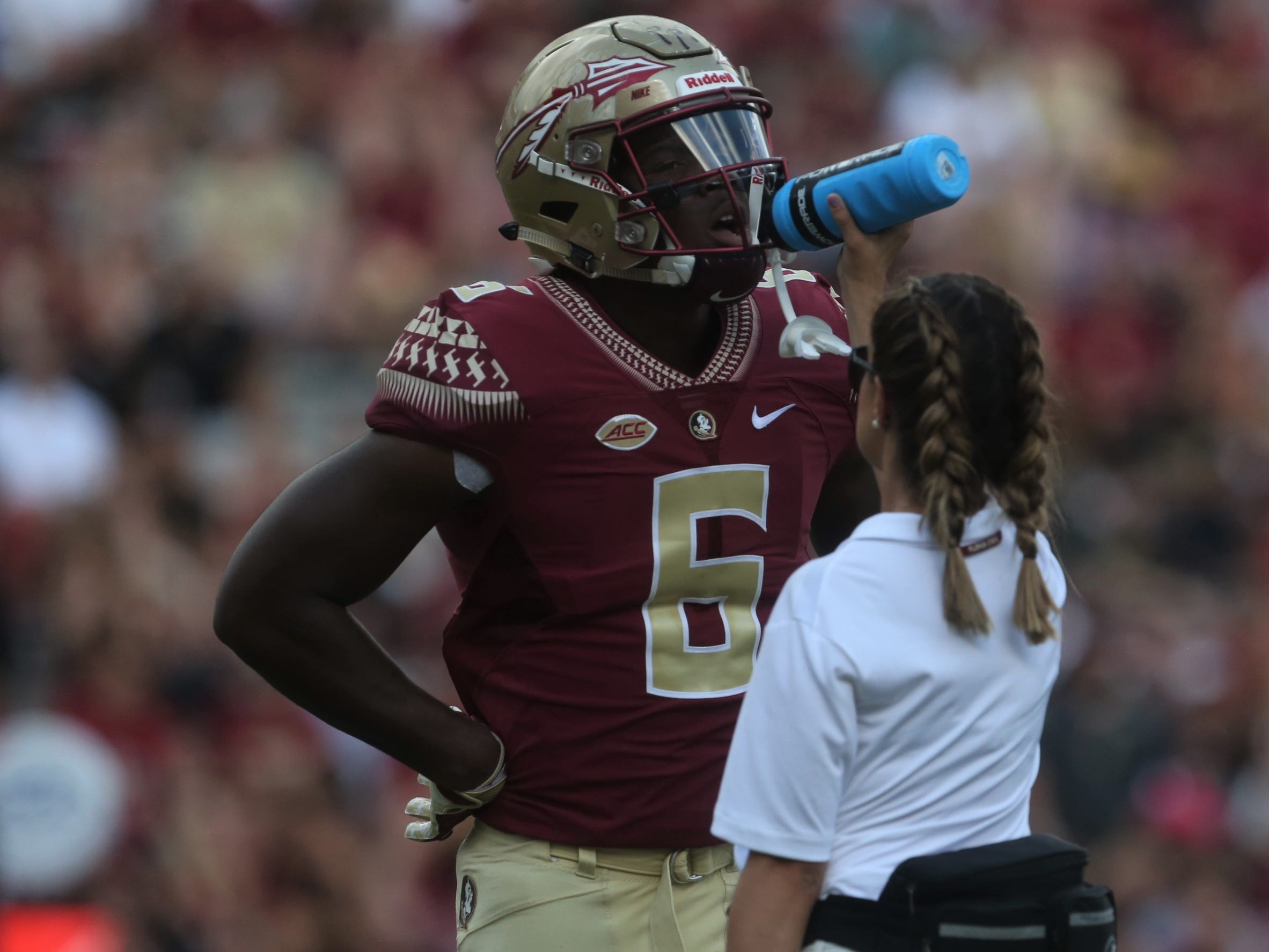 Florida State tight end Tre' McKitty gets some high-quality H2O during a game against Wake Forest at Doak Campbell Stadium on Saturday, Oct. 20, 2018.