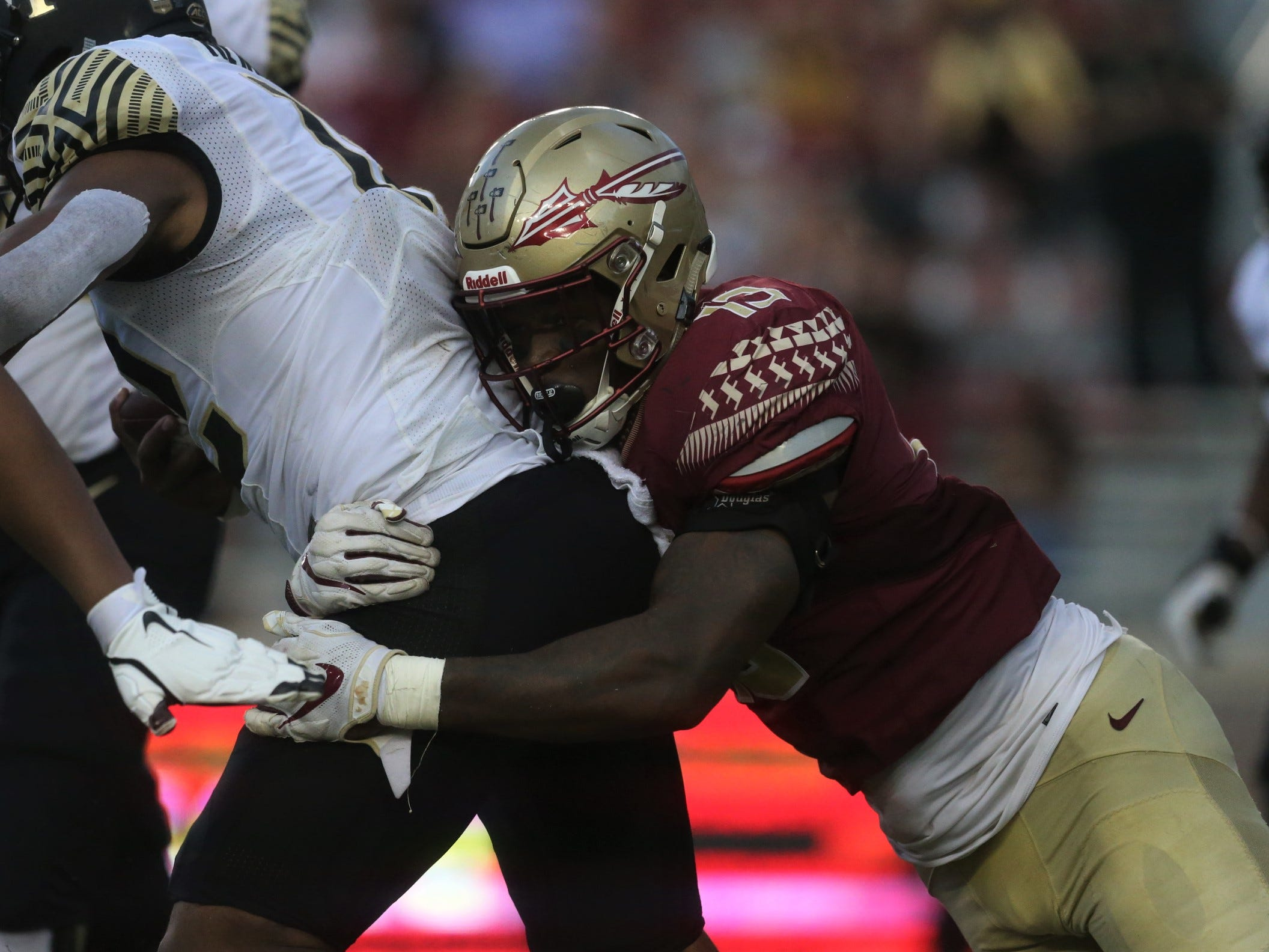 Florida State defensive end Joshua Kaindoh record a sack of Wake Forest quarterback Jamie Newman during a game at Doak Campbell Stadium on Saturday, Oct. 20, 2018.