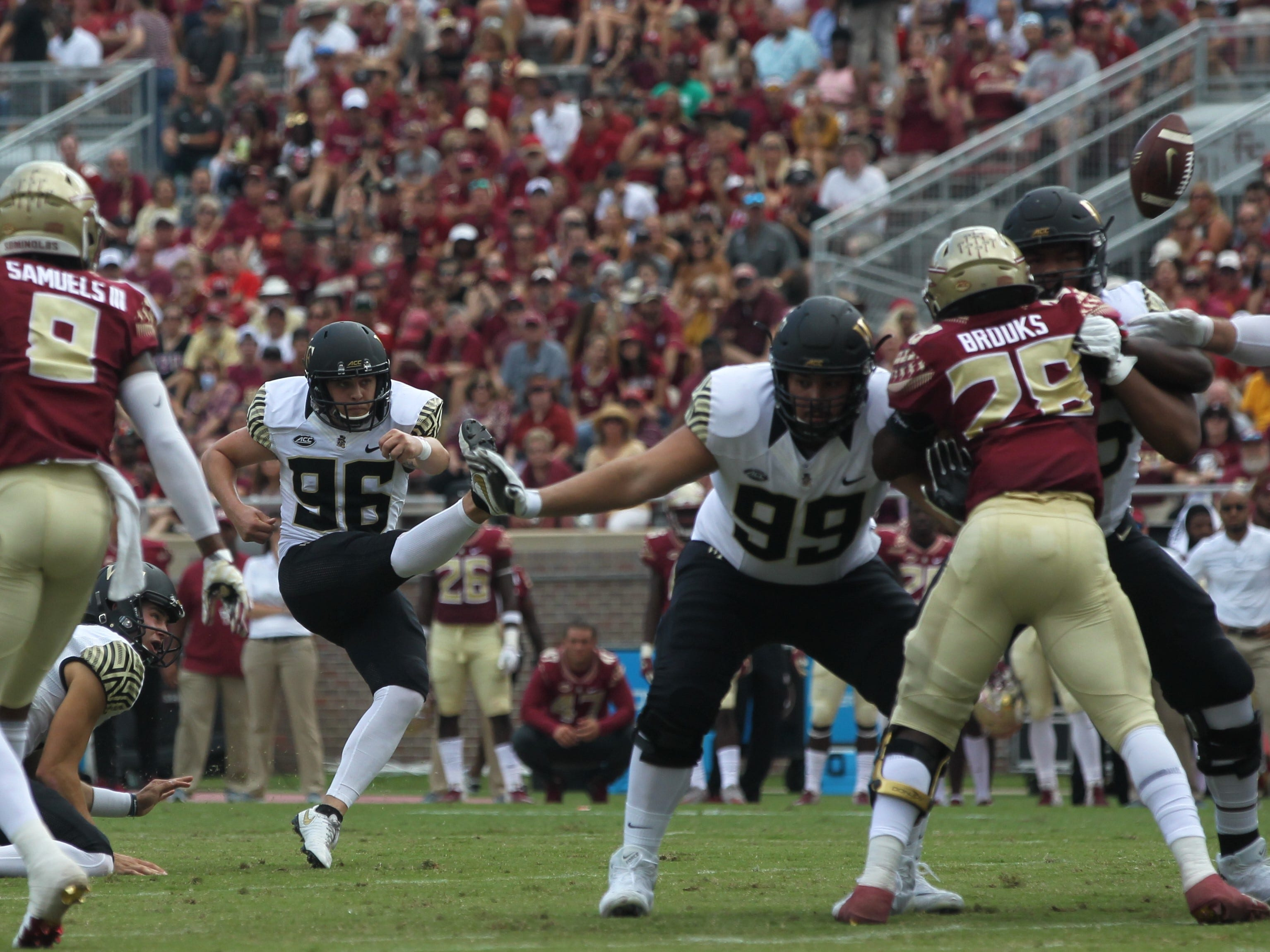 Wake Forest kicker Nick Sciba kicks a field goal against Florida State during a game at Doak Campbell Stadium on Saturday, Oct. 20, 2018.