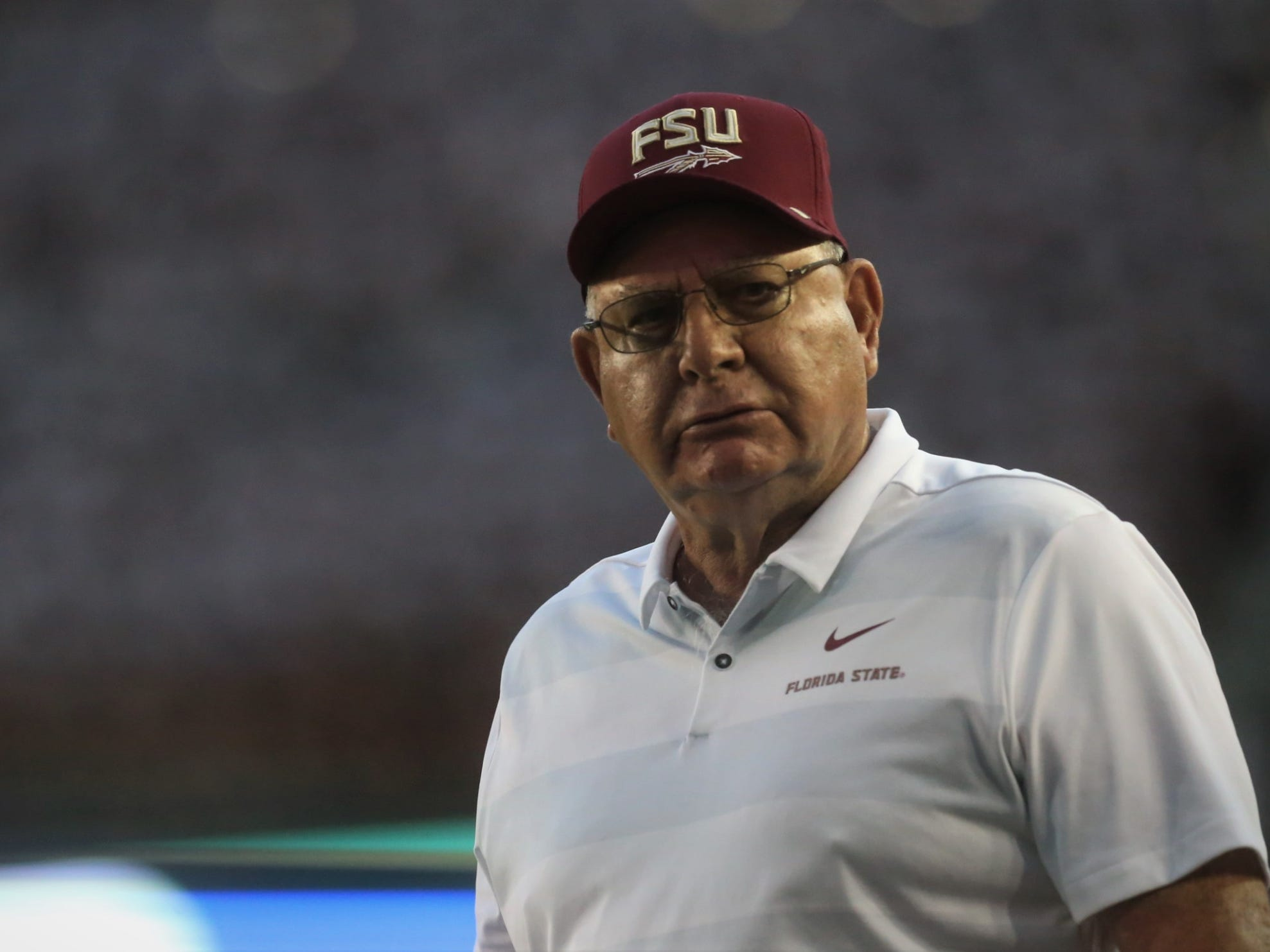 Florida State special assistant coach Mickey Andrews walks the sidelines during the Wake Forest game at Doak Campbell Stadium on Saturday, Oct. 20, 2018.