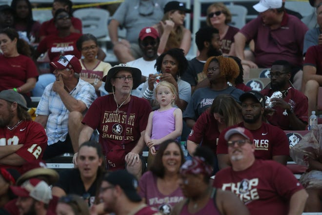 Fans, cheerleaders, mascots, bands, and Osceola and Renedgade during the Wake Forest and Florida State football game at Doak Campbell Stadium on Saturday, Oct. 20, 2018.