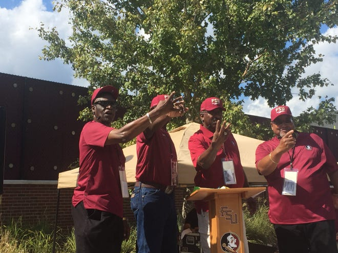 Florida State's first four African-American football players, Eddie McMillan, Charlie Hunt, J.T. Thomas and Bobby Anderson.