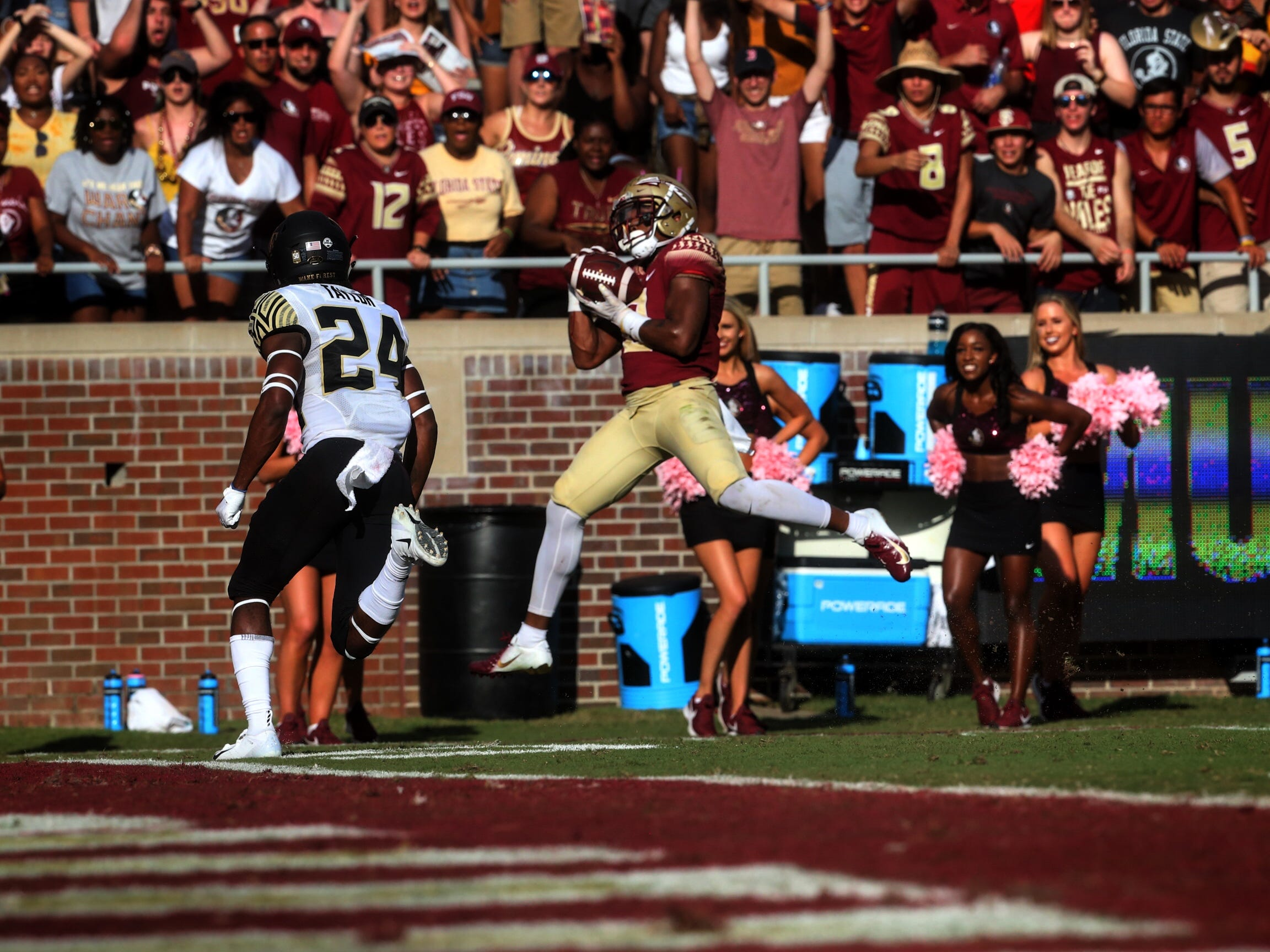Florida State receiver Nyqwan Murray hauls in a 33-yard touchdown catch against Wake Forest during a game at Doak Campbell Stadium on Saturday, Oct. 20, 2018.
