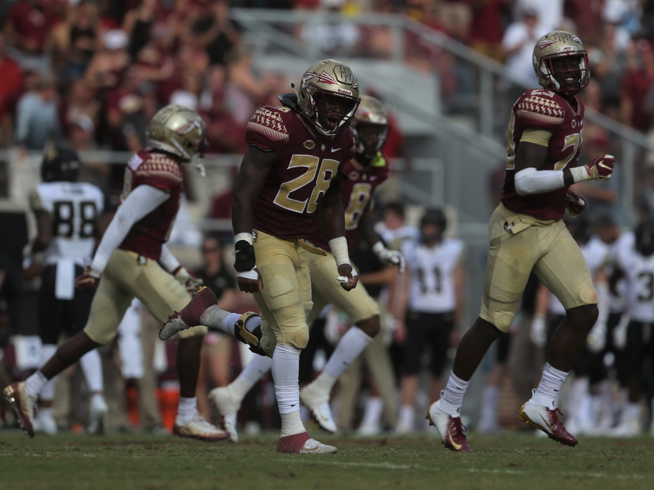 Florida State linebacker DeCalon Brooks celebrates a turnover against Wake Forest during a game at Doak Campbell Stadium on Saturday, Oct. 20, 2018.