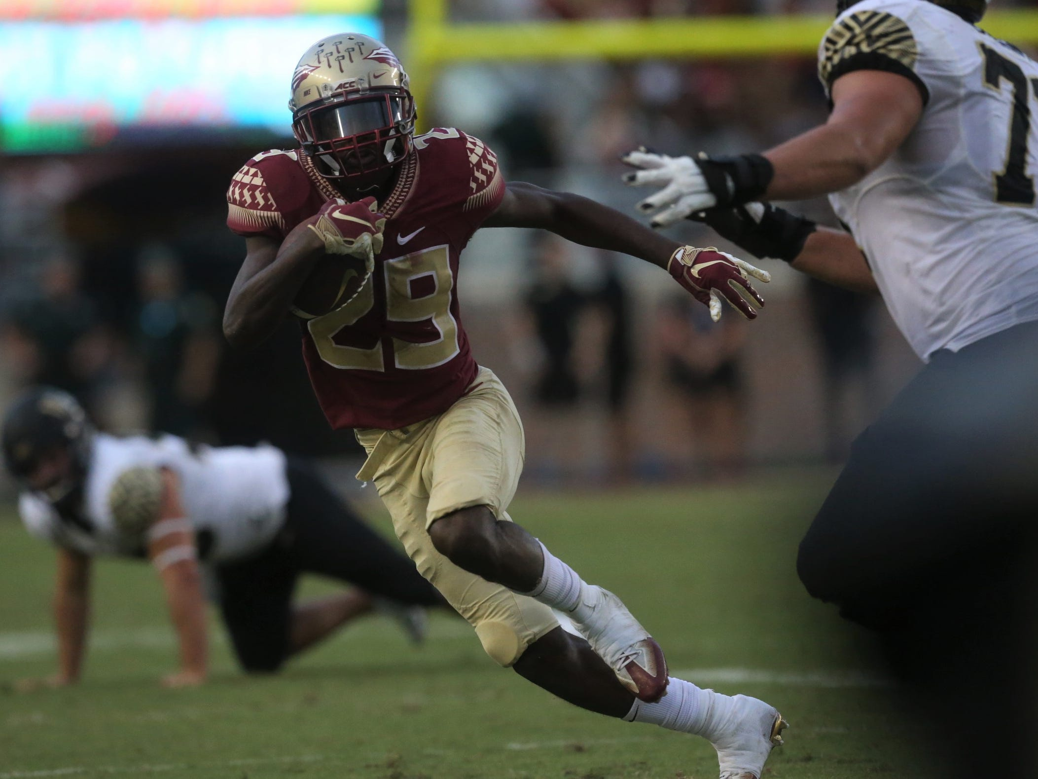 Florida State receiver D.J. Matthews takes off upfield against Wake Forest during a game at Doak Campbell Stadium on Saturday, Oct. 20, 2018.