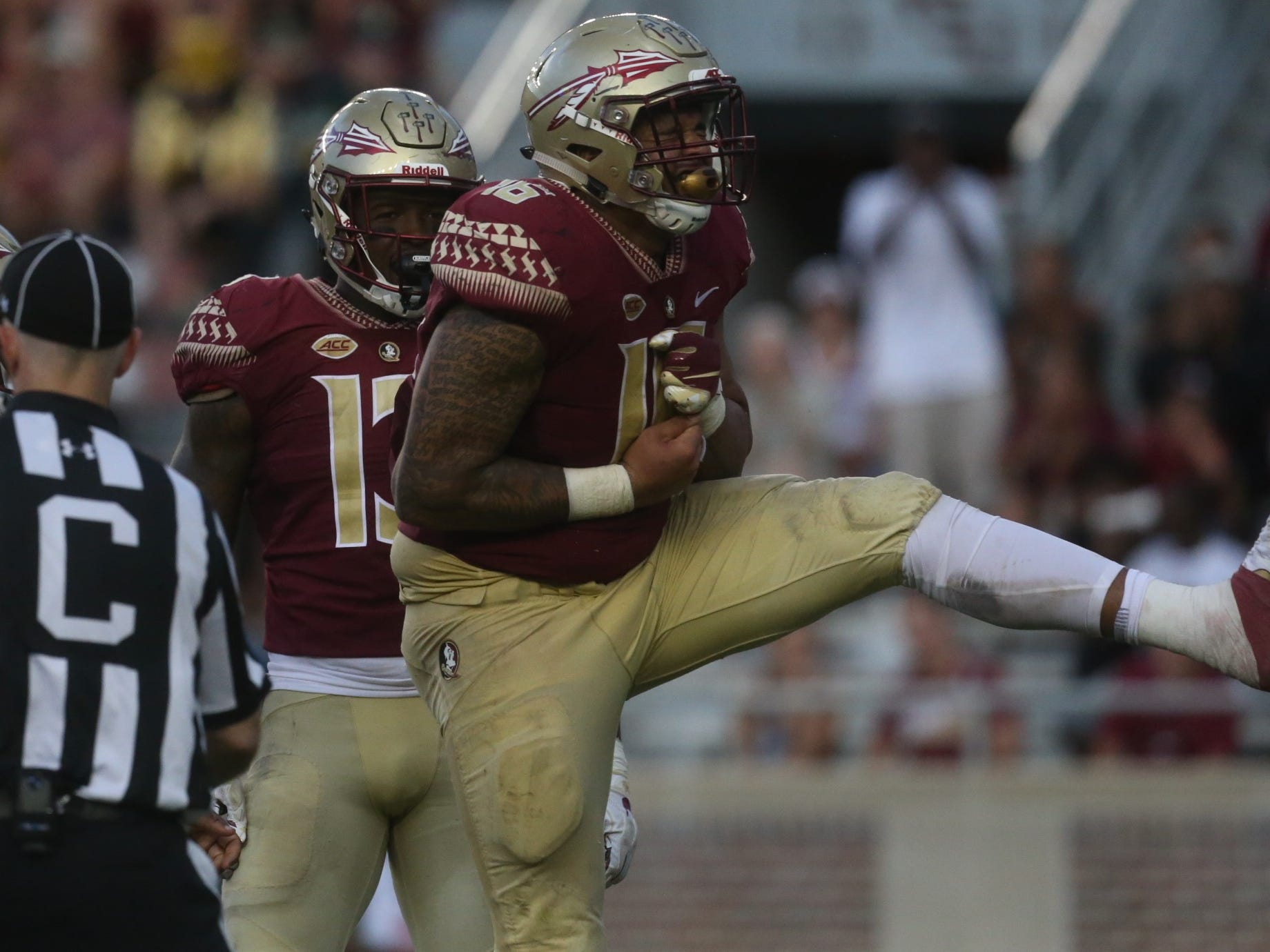 Florida State defensive tackle Cory Durden celebrates a sack against Wake Forest during a game at Doak Campbell Stadium on Saturday, Oct. 20, 2018.