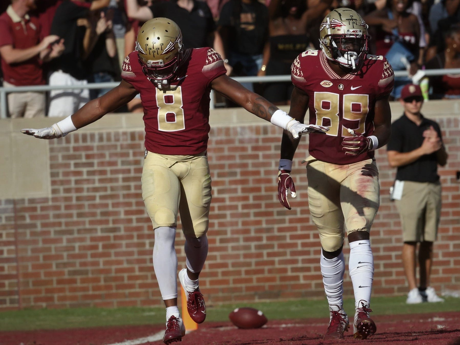 Florida State receiver Nyqwan Murray celebrates a 33-yard touchdown catch against Wake Forest during a game at Doak Campbell Stadium on Saturday, Oct. 20, 2018.