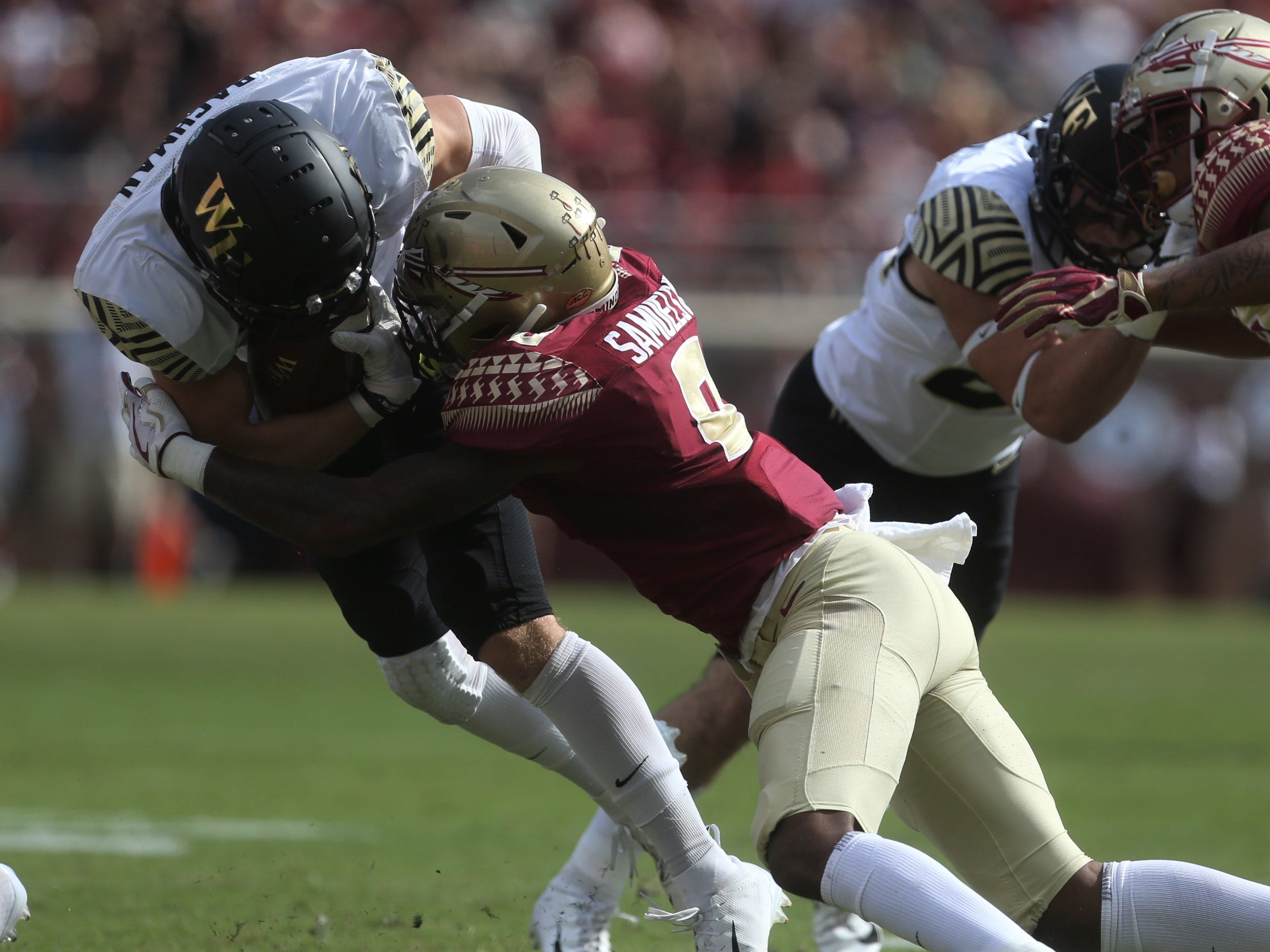 Florida State defensive back Stanford Samuels III levels a hit on Wake Forest receiver Alex Bachman during a game at Doak Campbell Stadium on Saturday, Oct. 20, 2018.