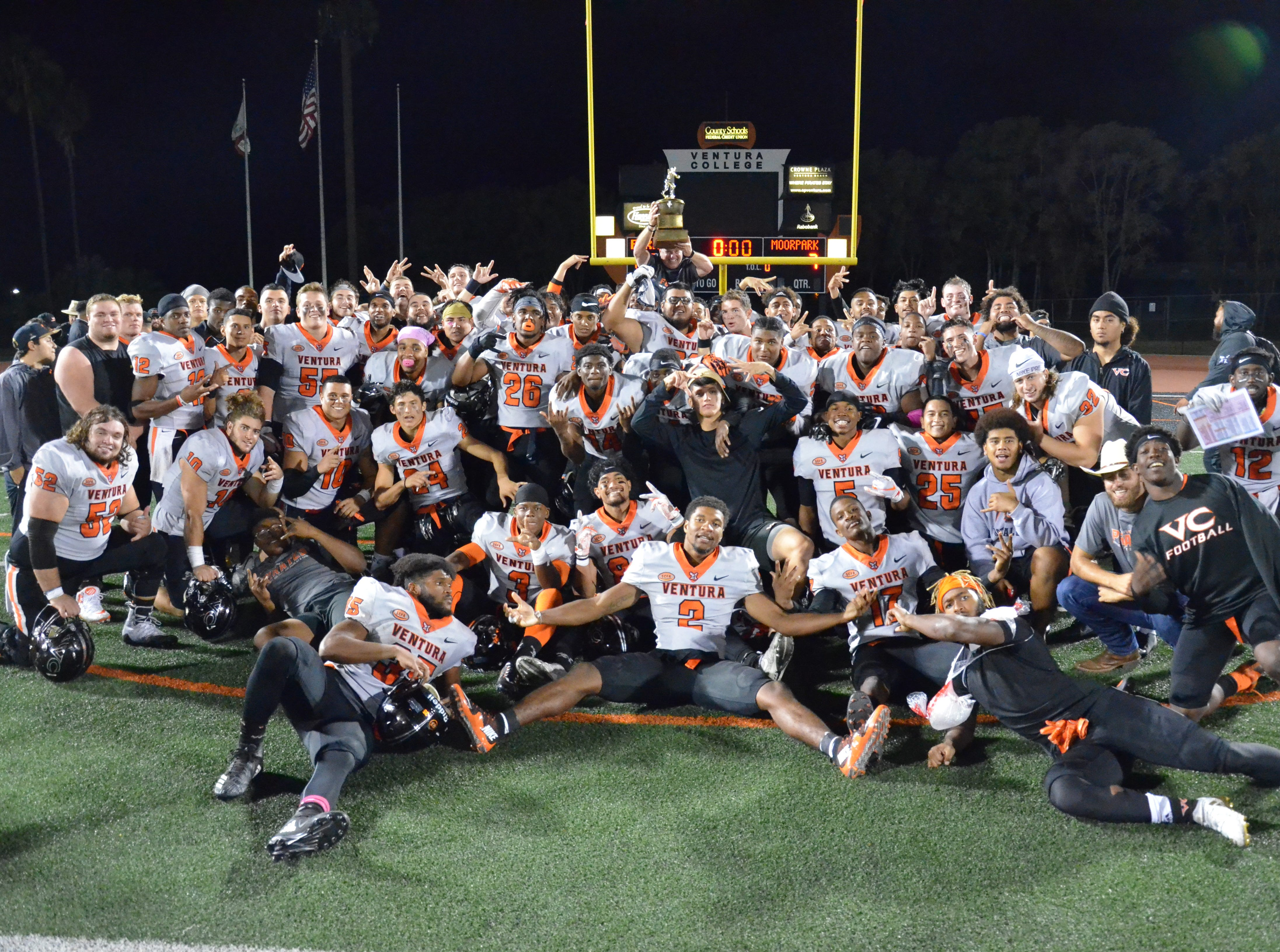 Ventura College football celebrates winning the 51st Citrus Cup game, 62-7, over rival Moorpark College on Saturday night at the VC Sportsplex.