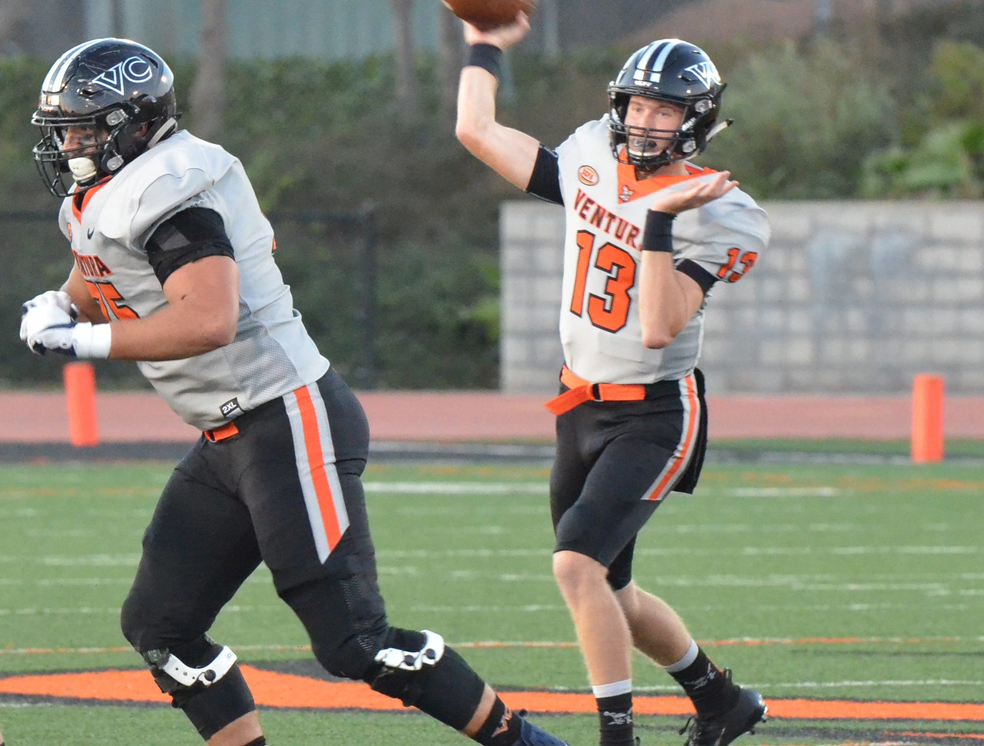 Ventura College quarterback Jay Vanderjagt throws a pass in the 51st Citrus Cup game on Saturday night at the VC Sportsplex. VC won 62-7.