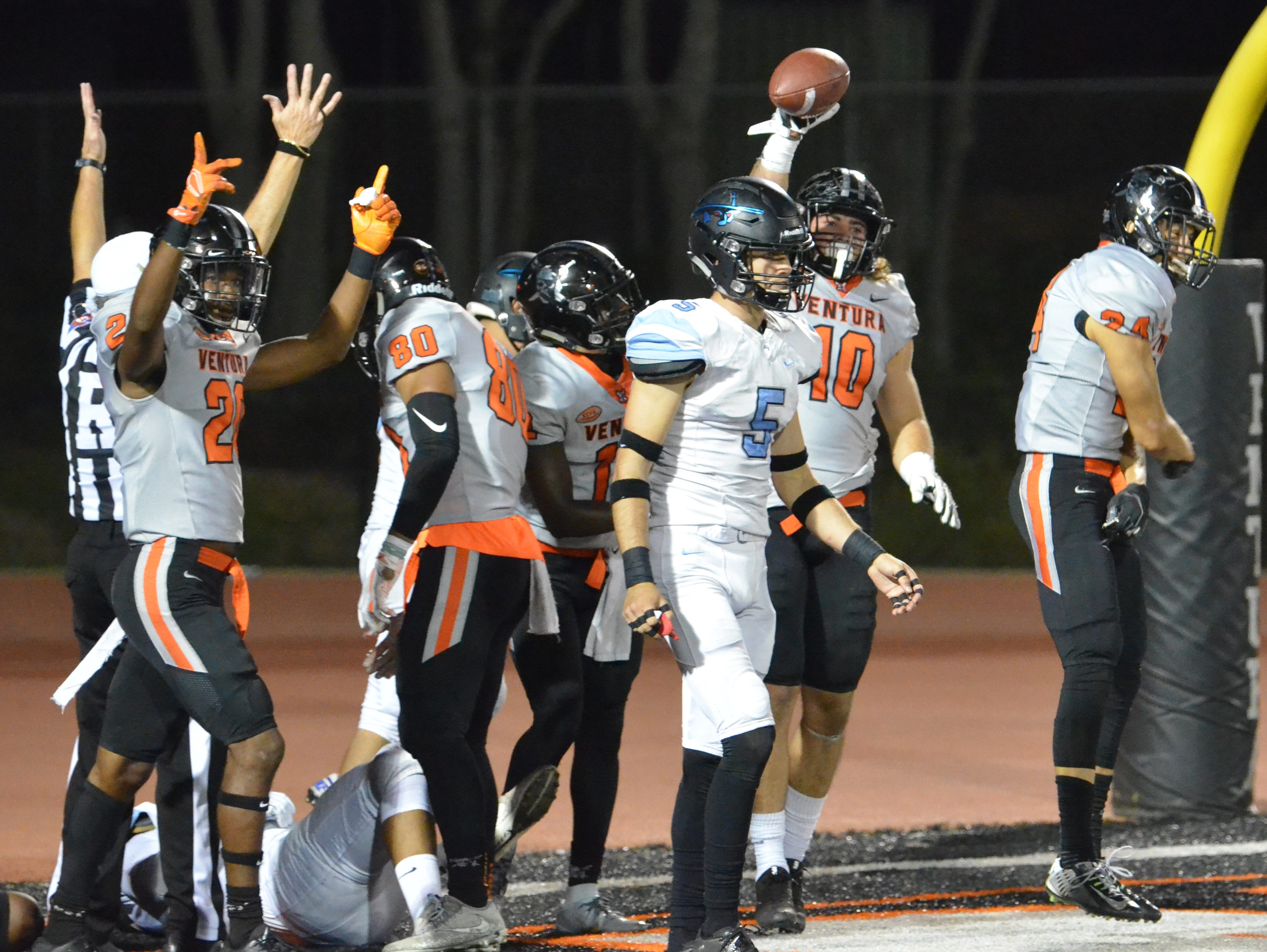 Ventura College's Trennan Carlson celebrates after returning his blocked punt for a touchdown in the 51st Citrus Cup game on Saturday night at the VC Sportsplex. VC won 62-7.