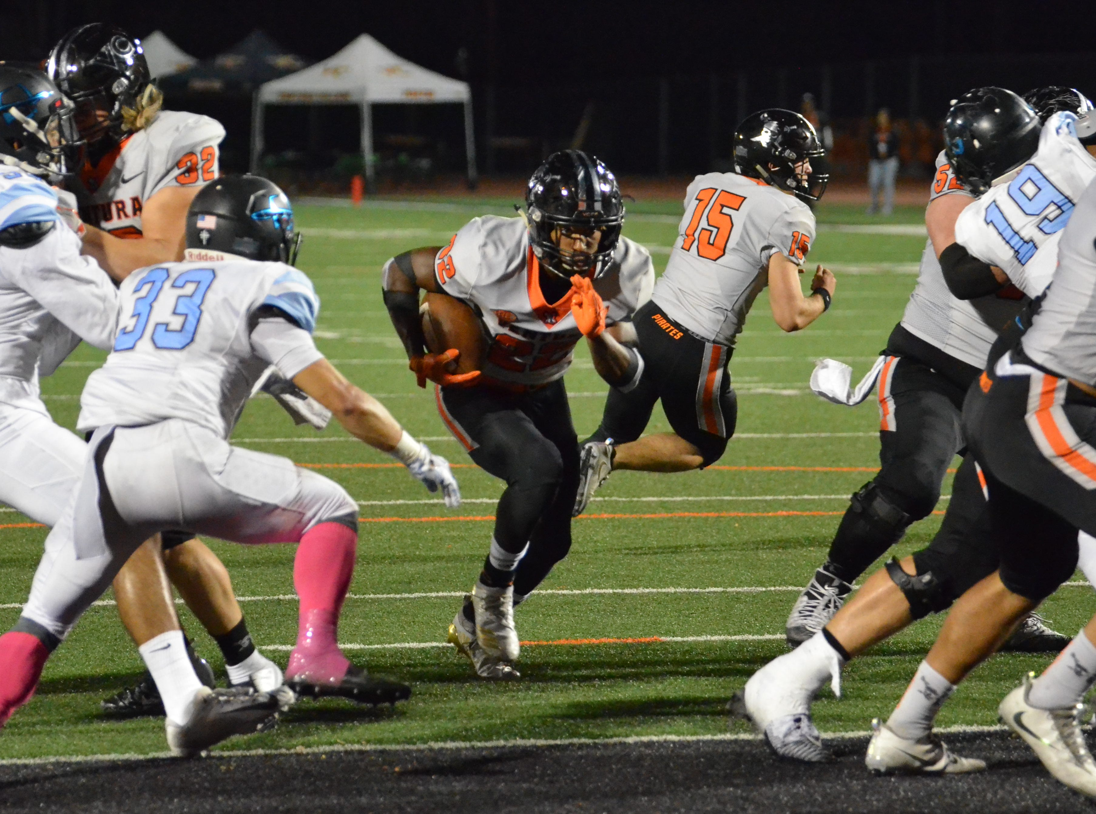 Ventura College's Gil'Scott Jackson runs for a touchdown in the 51st Citrus Cup game on Saturday night at the VC Sportsplex. VC won 62-7.