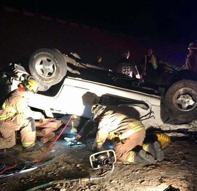 Four people injured in single-vehicle crash on Highway 198