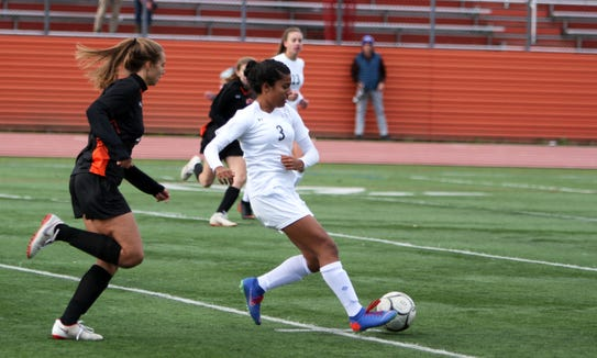 Mamaroneck's Simran Nambiar plays the ball during a Section 1 first round girls soccer playoff game between Mamaroneck and White Plains on October 21st, 2018 at White Plains High School. Mamaroneck won 2-1 in double-overtime.