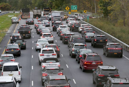 Traffic on southbound Interstate 684 is forced off at exit 8 in Croton Falls after a pickup truck hit an overhead sign on southbound Interstate 684 in Katonah early this morning forcing the closure of all southbound lanes Oct. 21, 2018.