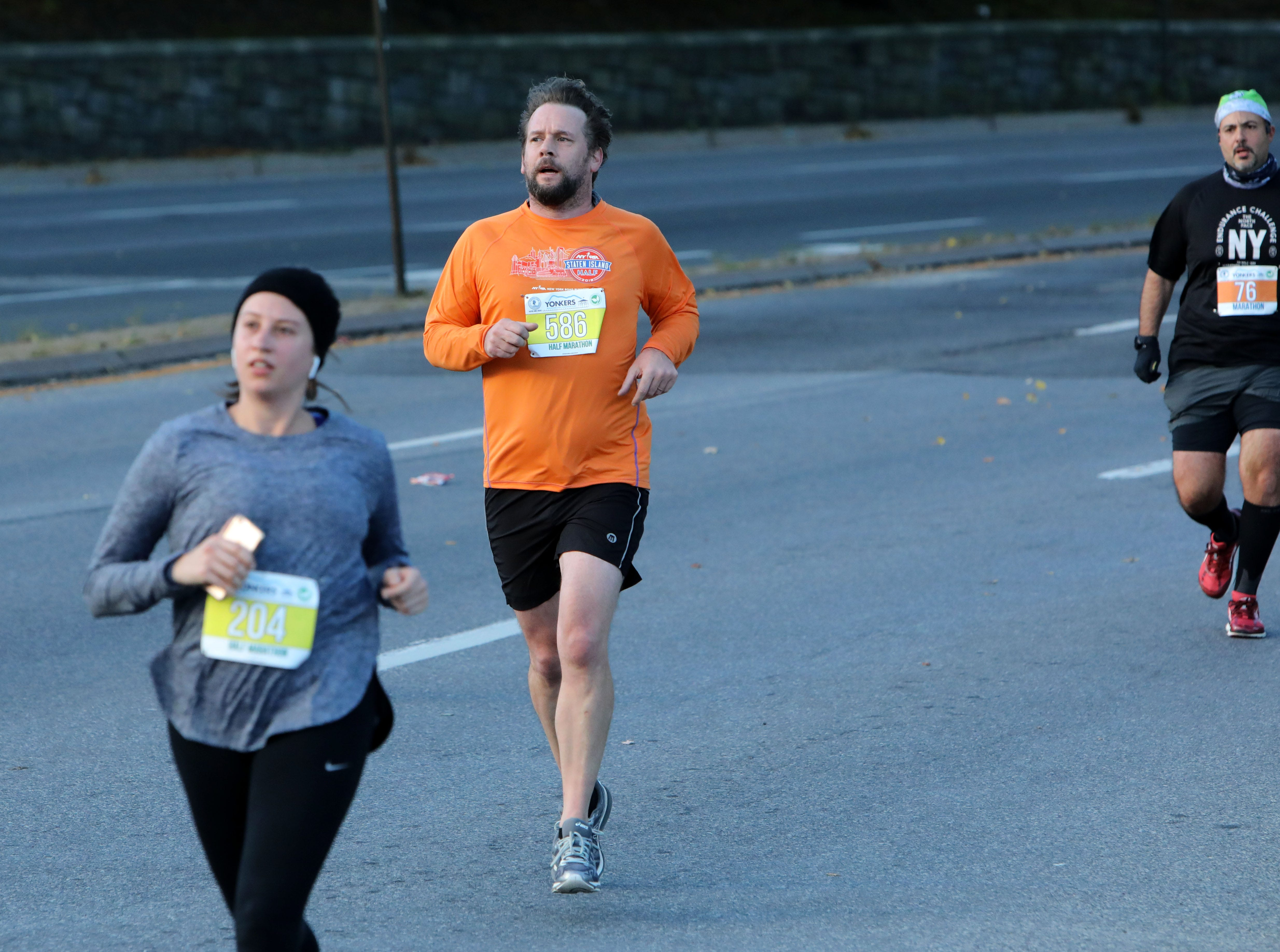 Runners compete in the Yonkers Marathon, half marathon and 5k, which started at Yonkers Riverfront Library, Oct. 21, 2018.