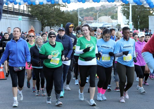 Several hundred runners start the Yonkers Marathon, half marathon and 5k, which started at Yonkers Riverfront Library, Oct. 21, 2018.