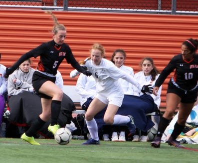 Action during a Section 1 first round girls soccer playoff game between Mamaroneck and White Plains on October 21st, 2018 at White Plains High School. Mamaroneck won 2-1 in double-overtime.