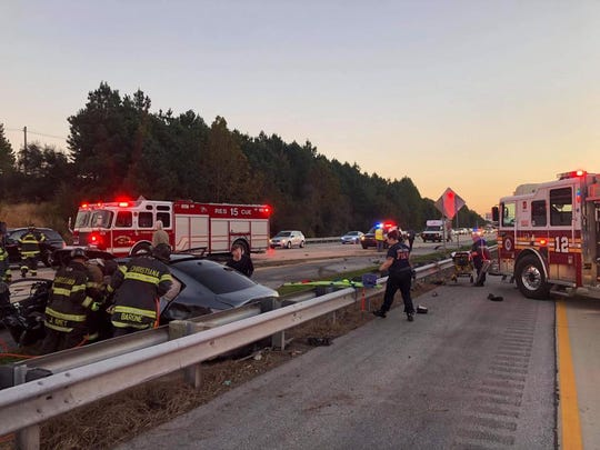At least one person was injured in a crash on Del. 1 North on Saturday, Oct. 20, 2018.